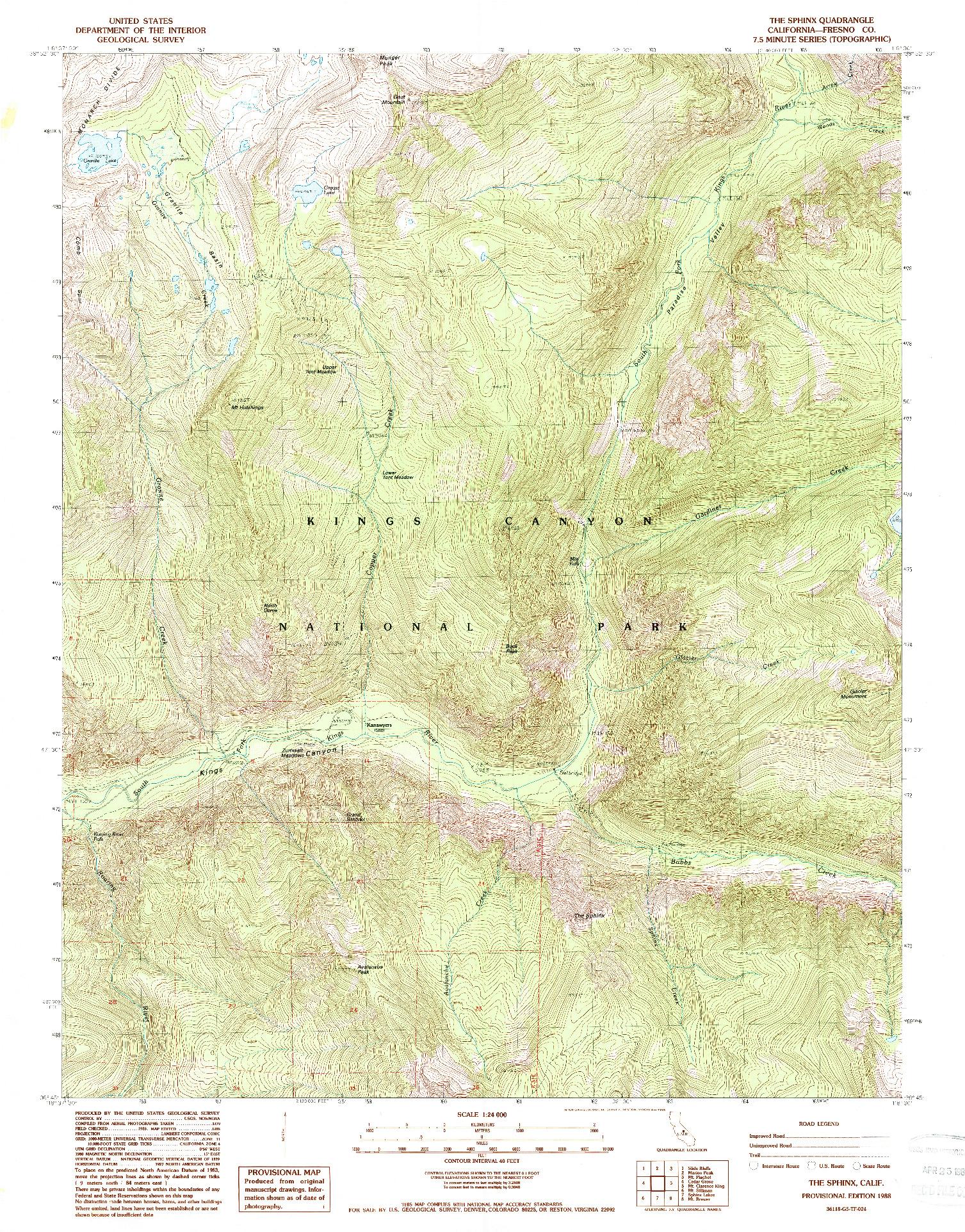 USGS 1:24000-SCALE QUADRANGLE FOR THE SPHINX, CA 1988