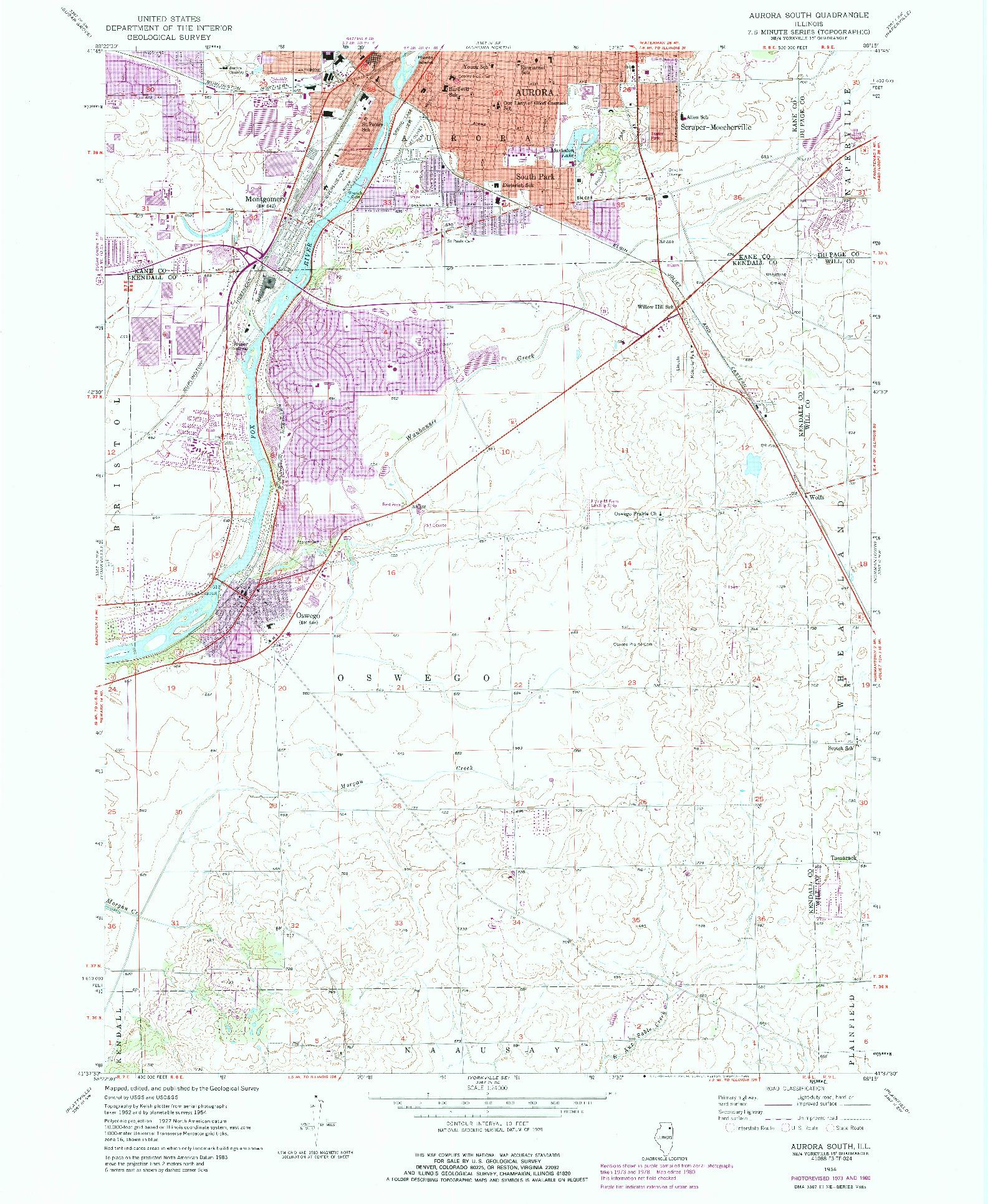 USGS 1:24000-SCALE QUADRANGLE FOR AURORA SOUTH, IL 1954