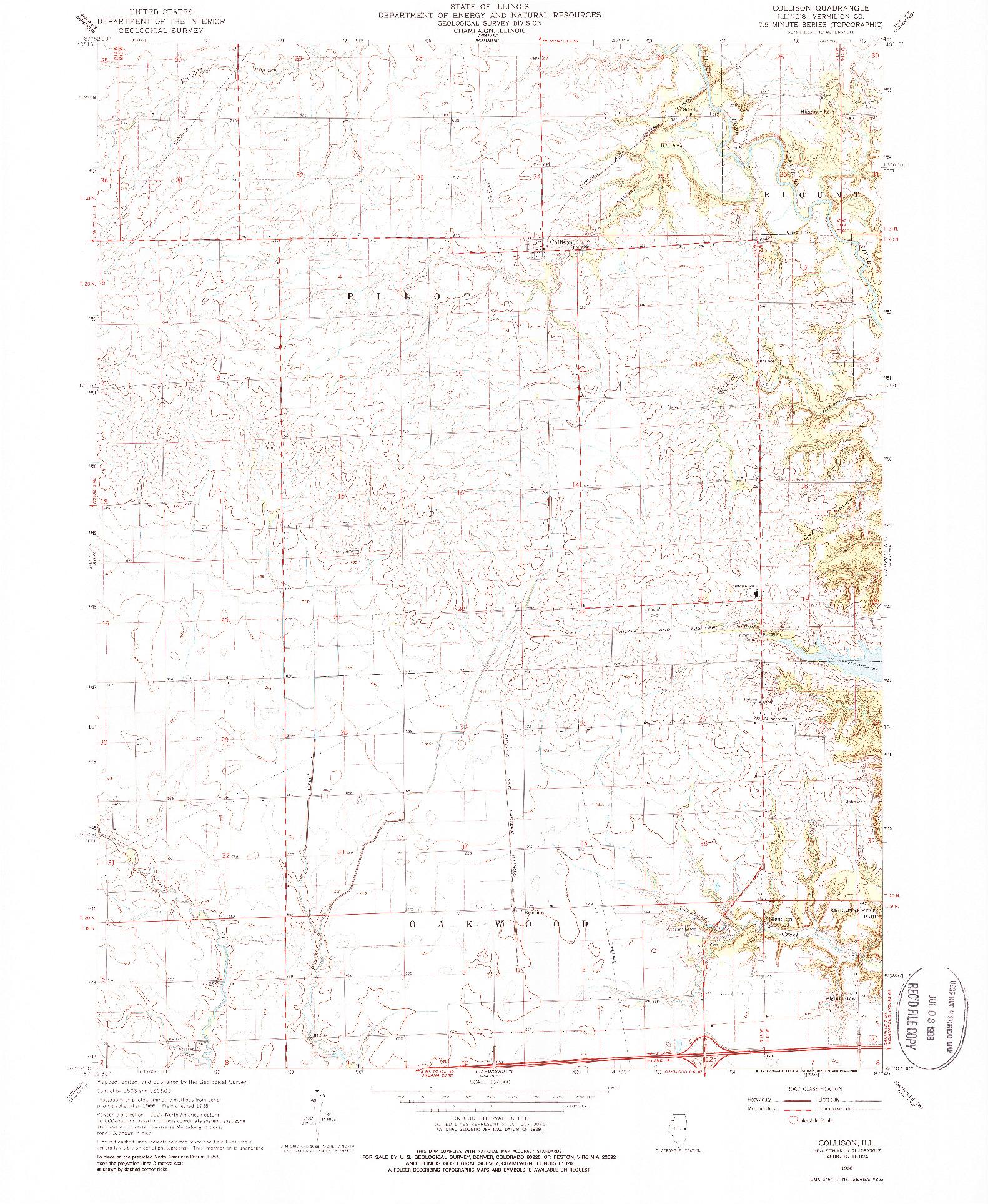USGS 1:24000-SCALE QUADRANGLE FOR COLLISON, IL 1968