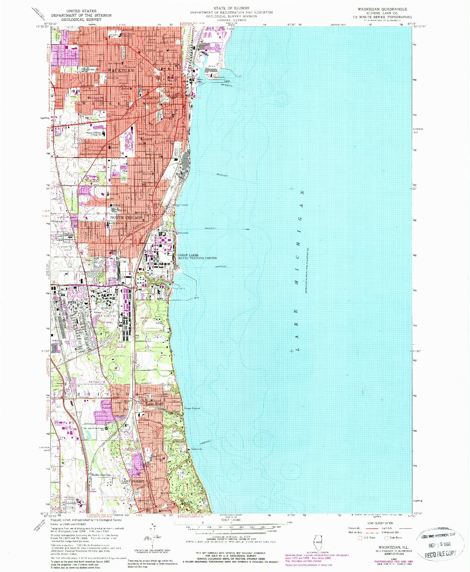 USGS 1:24000-SCALE QUADRANGLE FOR WAUKEGAN, IL 1960
