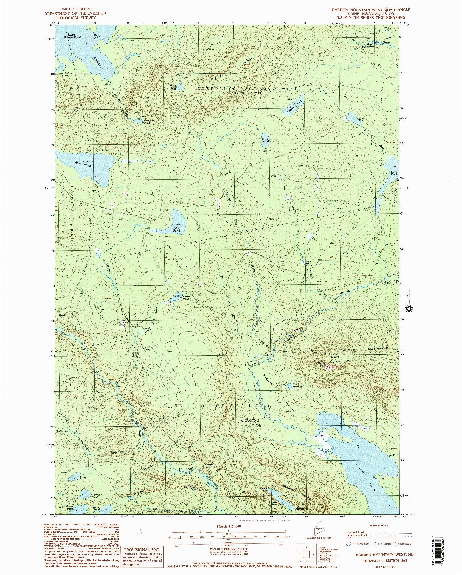 USGS 1:24000-SCALE QUADRANGLE FOR BARREN MOUNTAIN WEST, ME 1988
