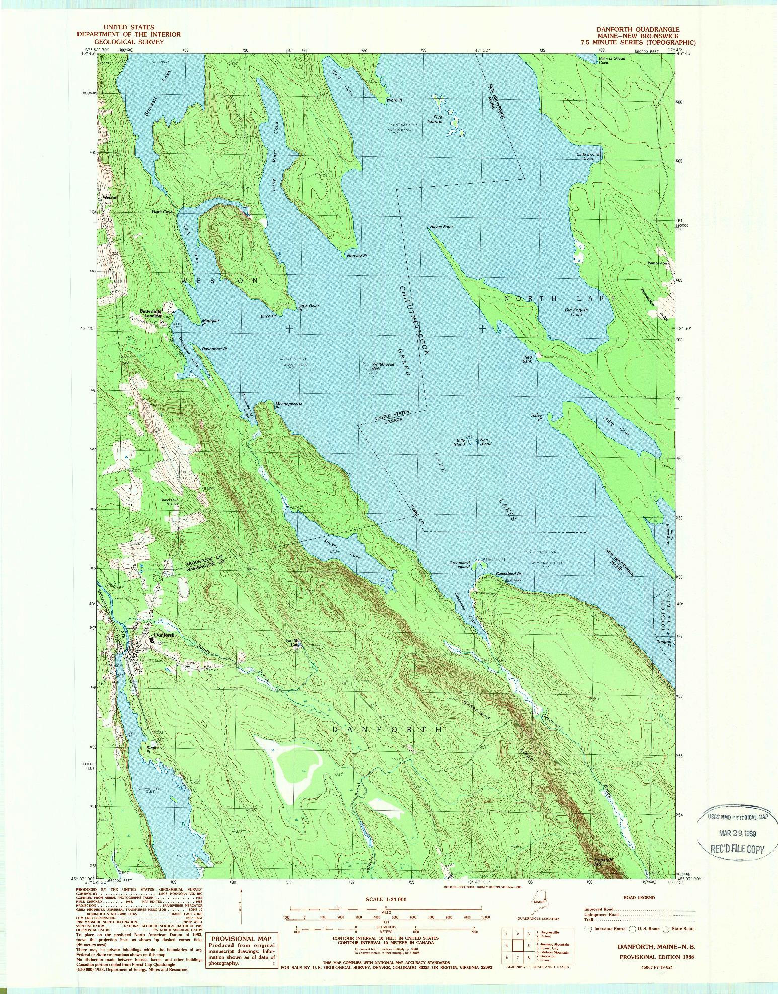 USGS 1:24000-SCALE QUADRANGLE FOR DANFORTH, ME 1988