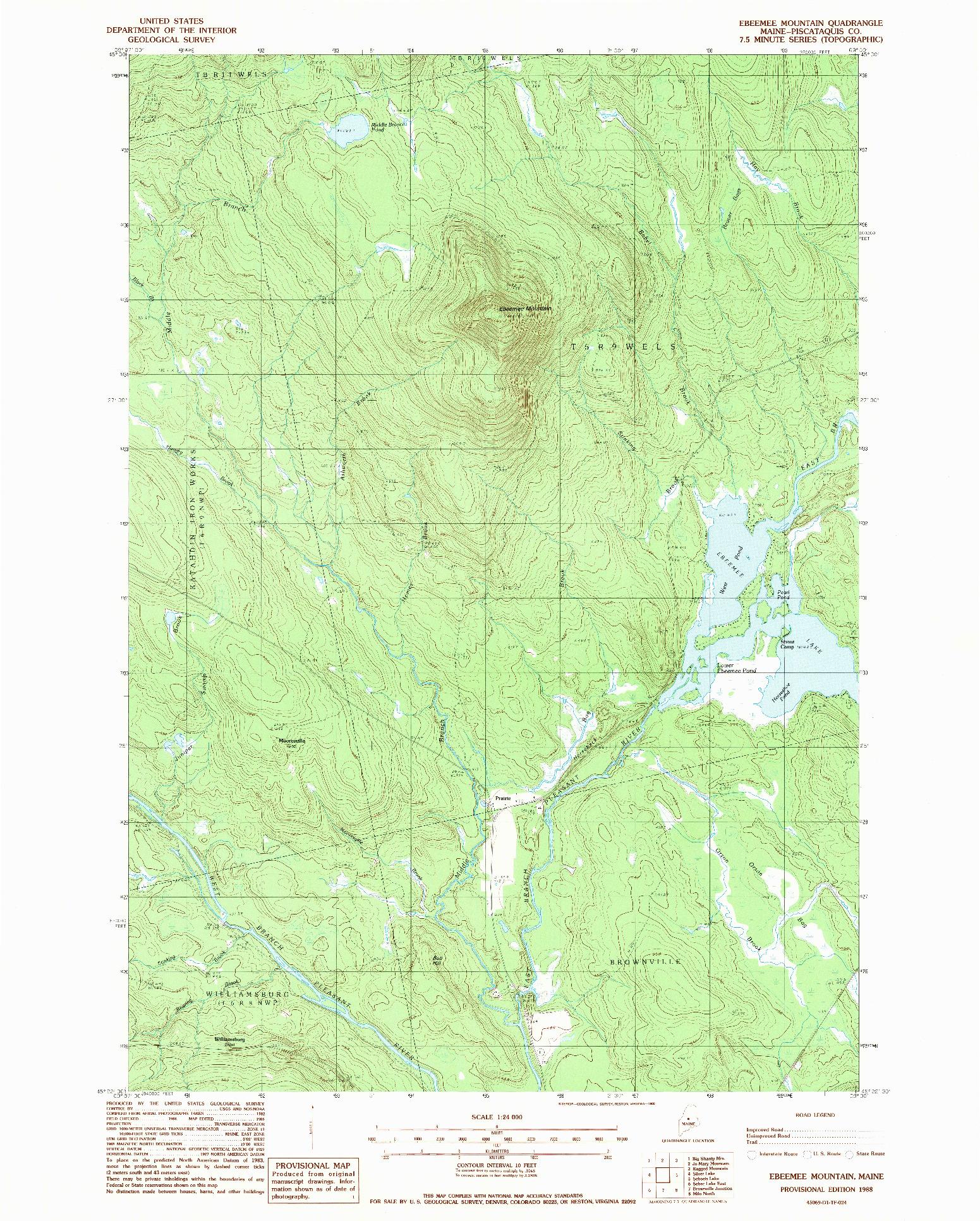 USGS 1:24000-SCALE QUADRANGLE FOR EBEEMEE MOUNTAIN, ME 1988