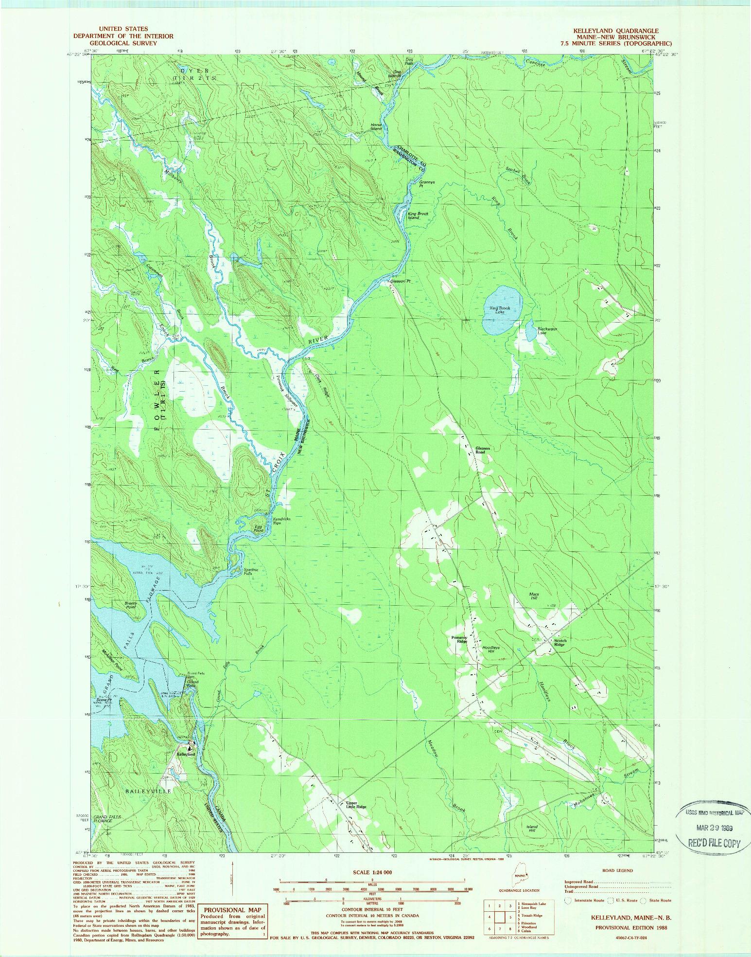 USGS 1:24000-SCALE QUADRANGLE FOR KELLEYLAND, ME 1988