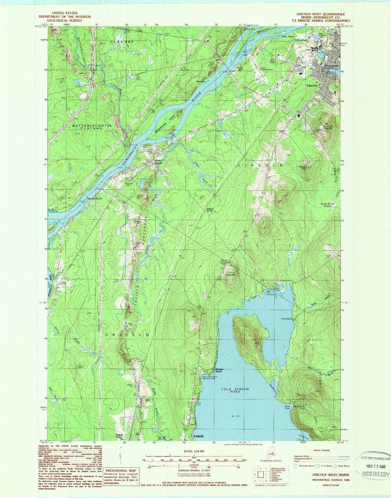 USGS 1:24000-SCALE QUADRANGLE FOR LINCOLN WEST, ME 1988