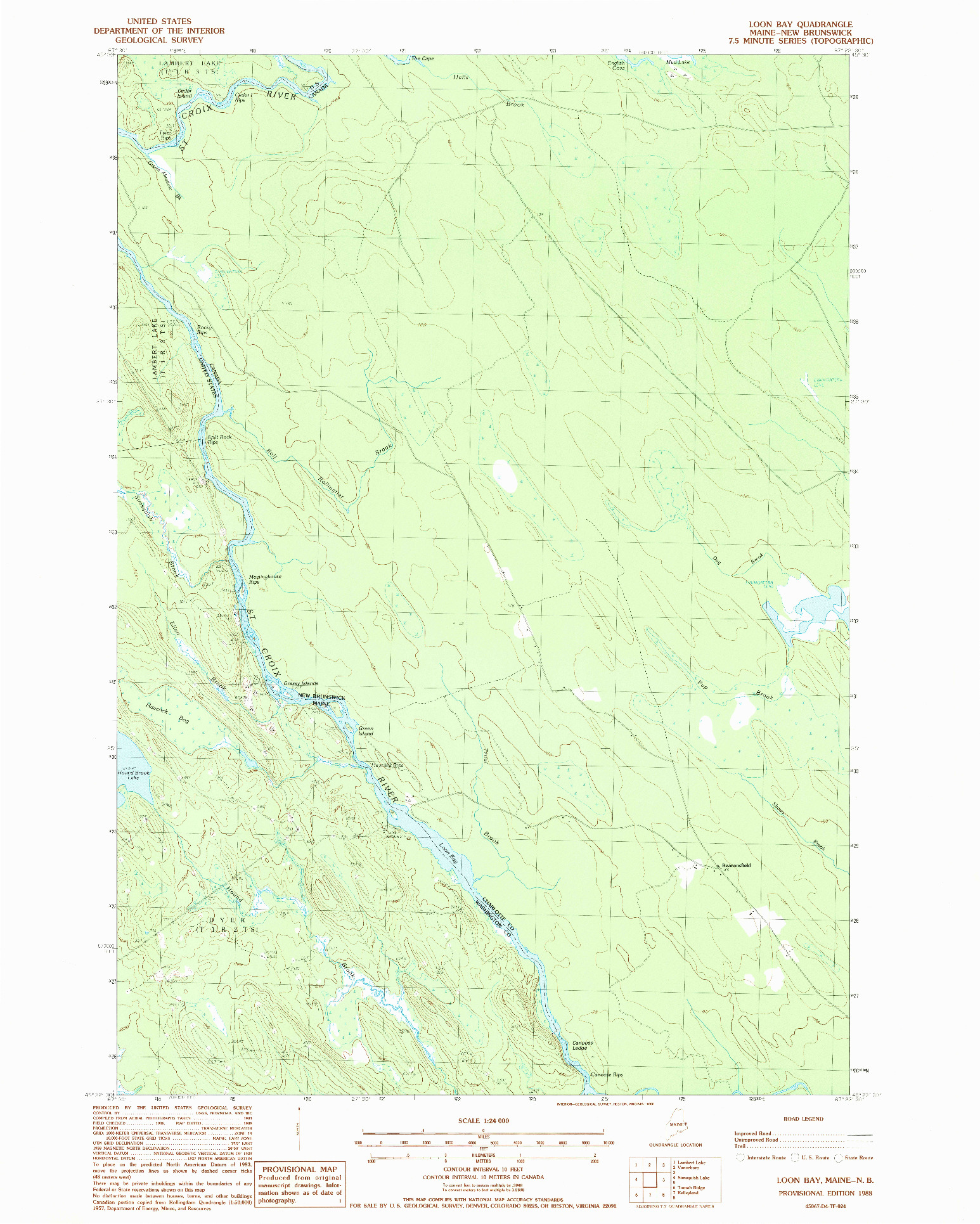 USGS 1:24000-SCALE QUADRANGLE FOR LOON BAY, ME 1988