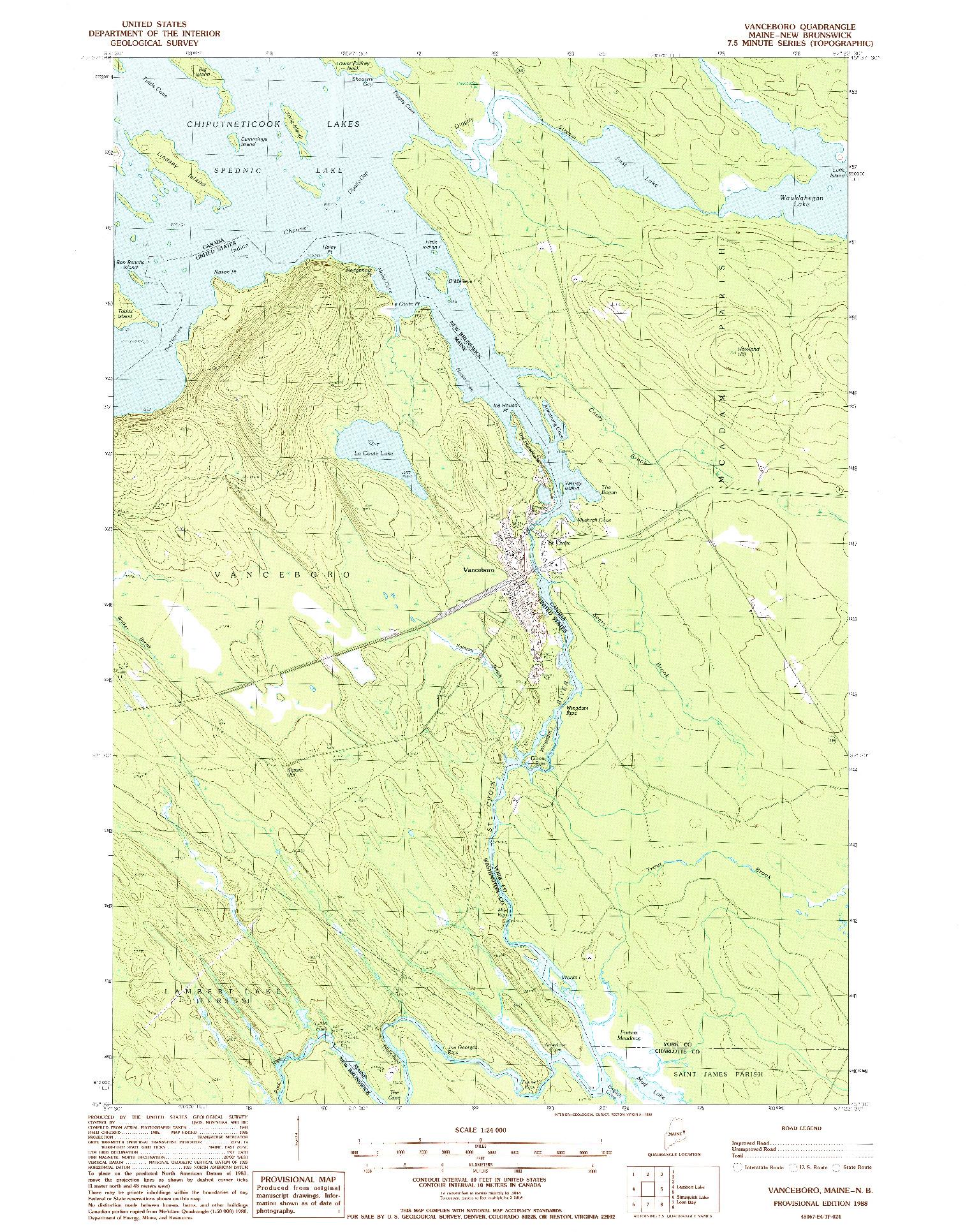 USGS 1:24000-SCALE QUADRANGLE FOR VANCEBORO, ME 1988