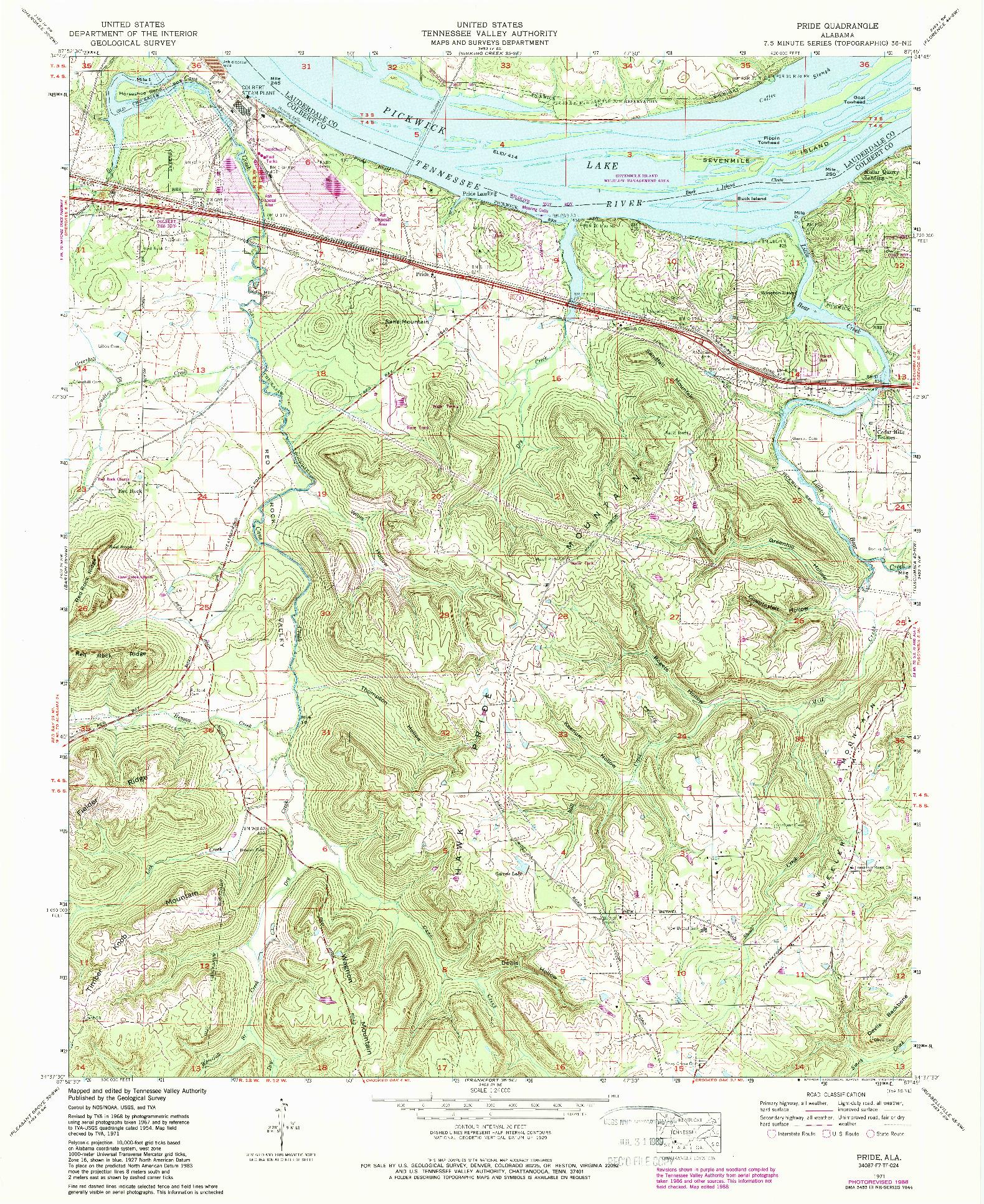 USGS 1:24000-SCALE QUADRANGLE FOR PRIDE, AL 1971