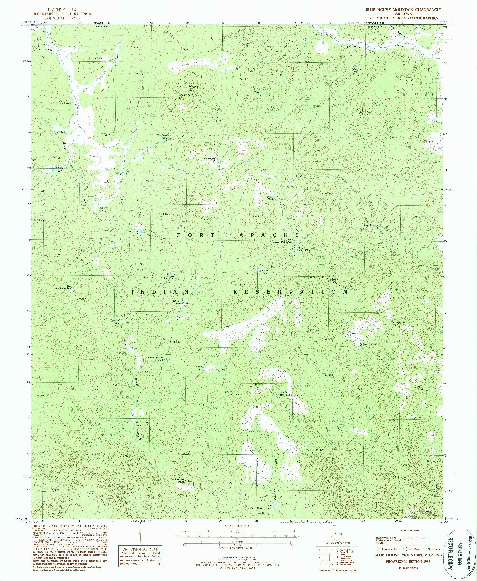 USGS 1:24000-SCALE QUADRANGLE FOR BLUE HOUSE MOUNTAIN, AZ 1988