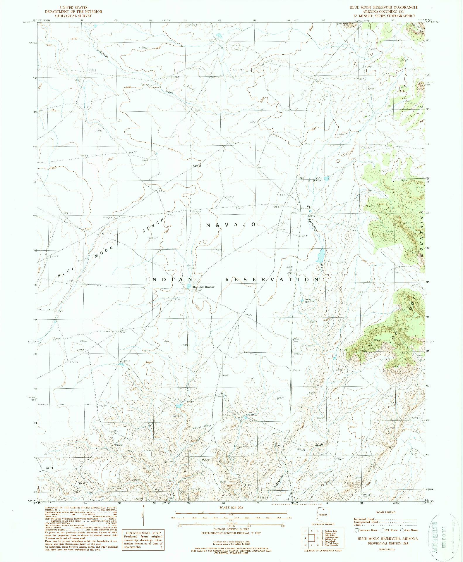 USGS 1:24000-SCALE QUADRANGLE FOR BLUE MOON RESERVOIR, AZ 1988