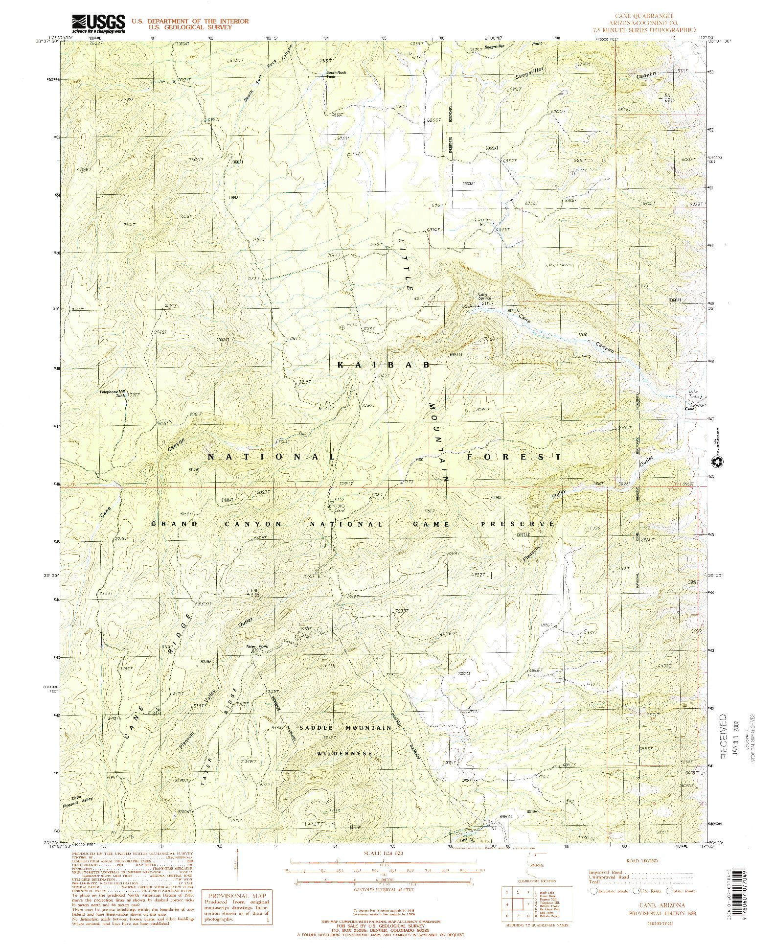 USGS 1:24000-SCALE QUADRANGLE FOR CANE, AZ 1988