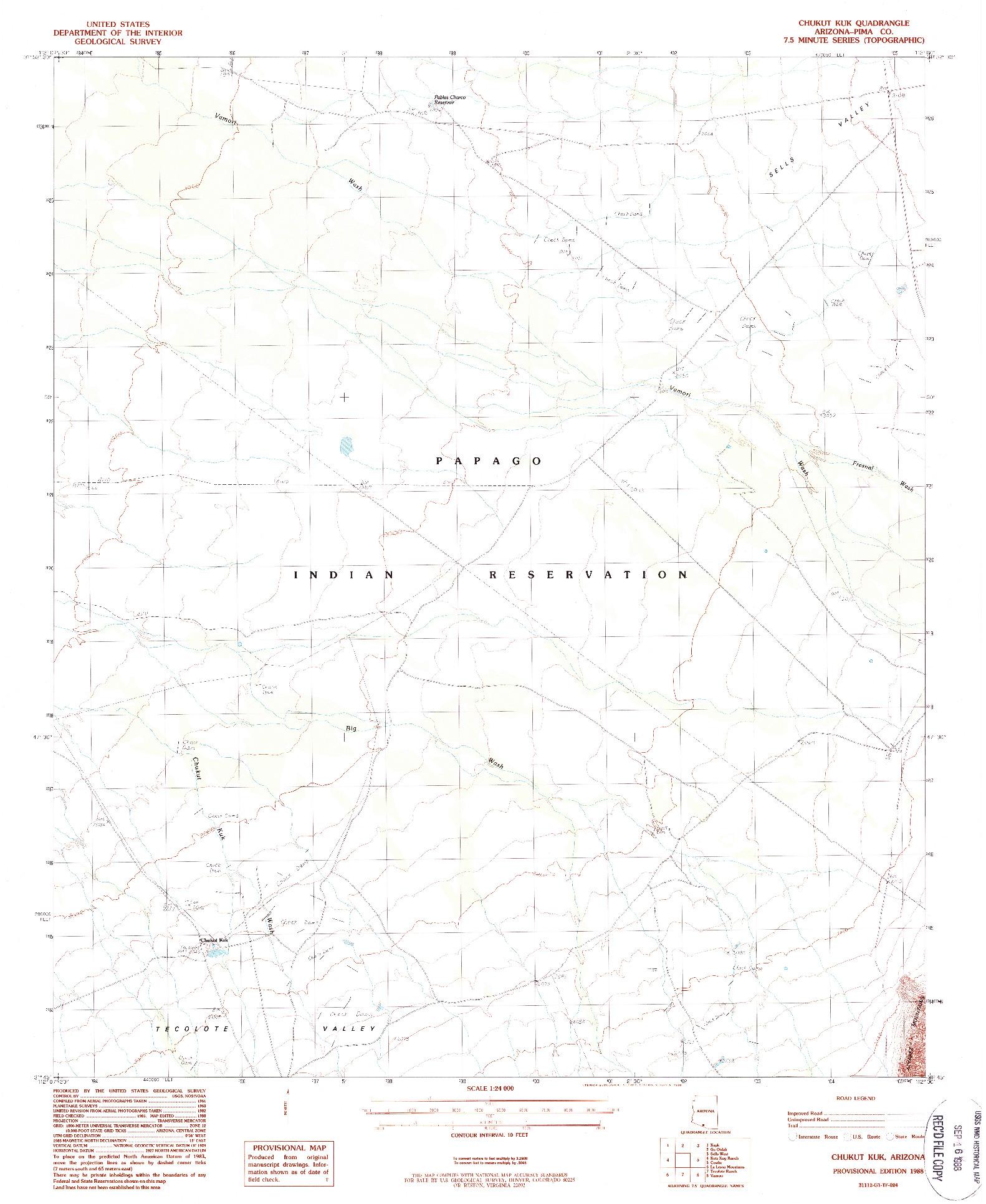 USGS 1:24000-SCALE QUADRANGLE FOR CHUKUT KUK, AZ 1988