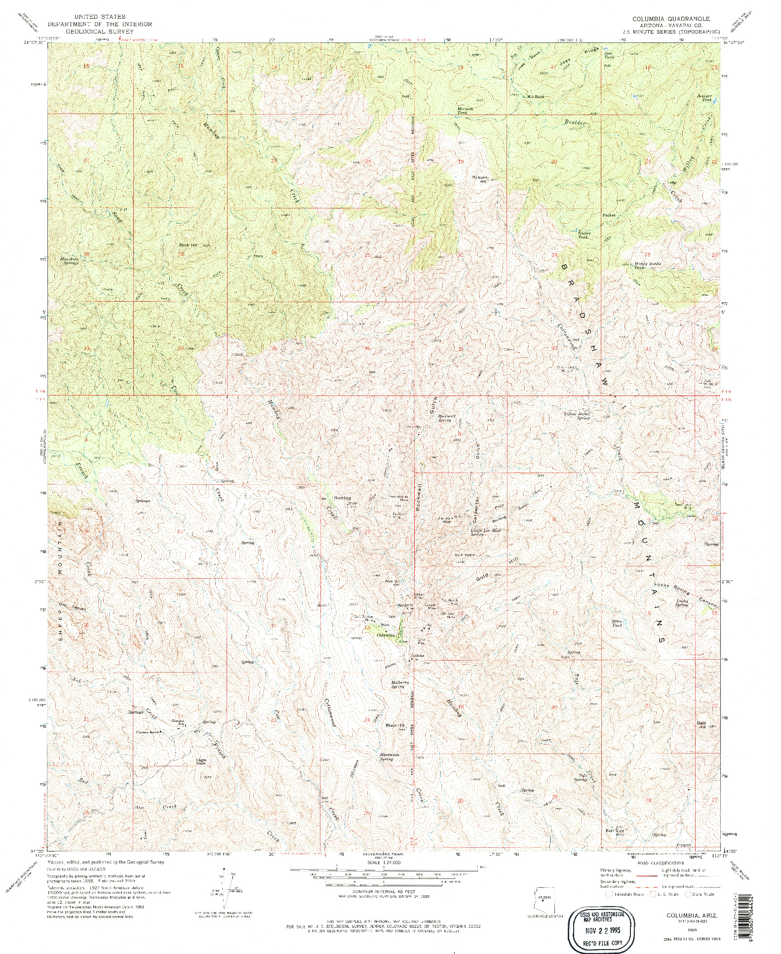 USGS 1:24000-SCALE QUADRANGLE FOR COLUMBIA, AZ 1969
