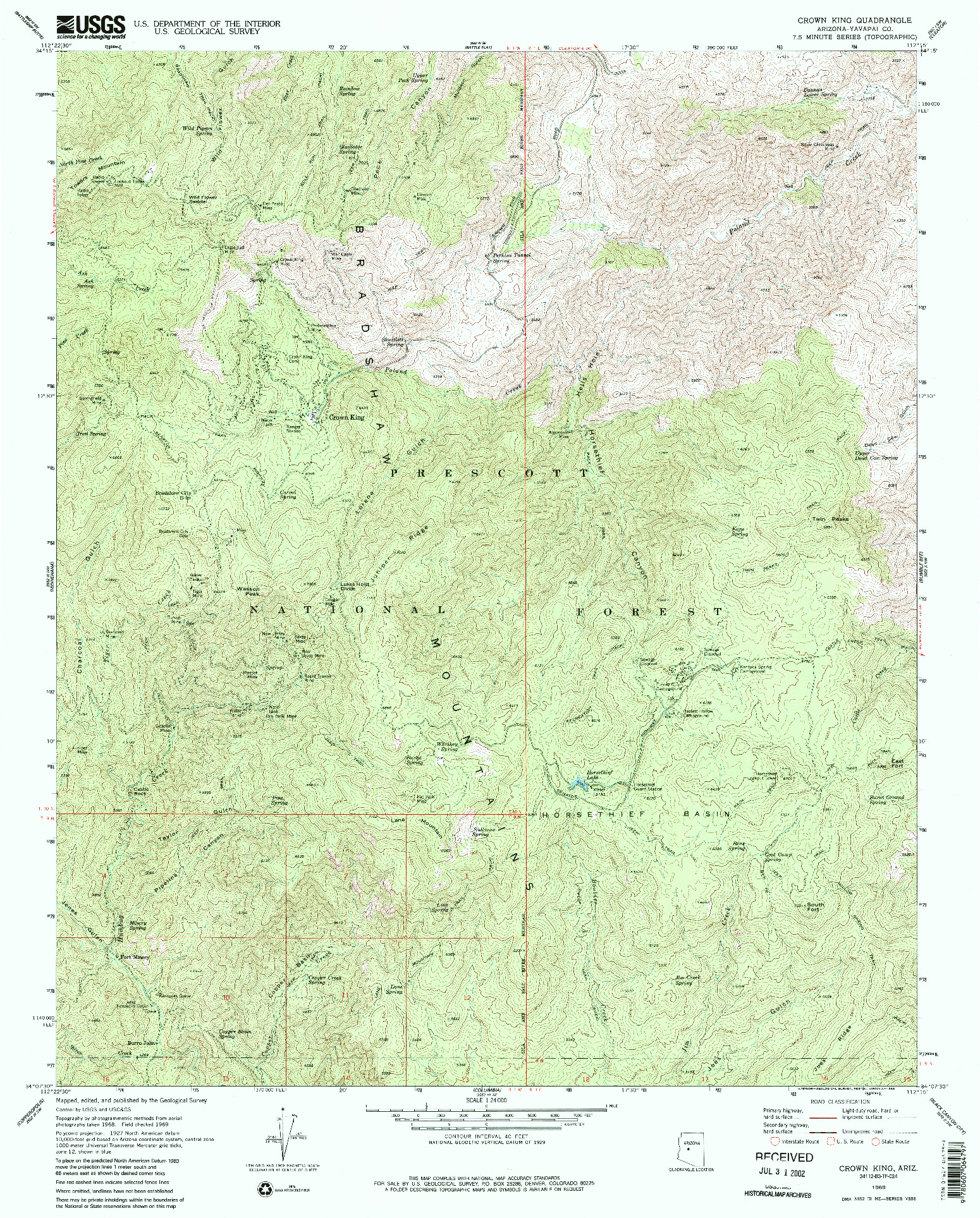 USGS 1:24000-SCALE QUADRANGLE FOR CROWN KING, AZ 1969