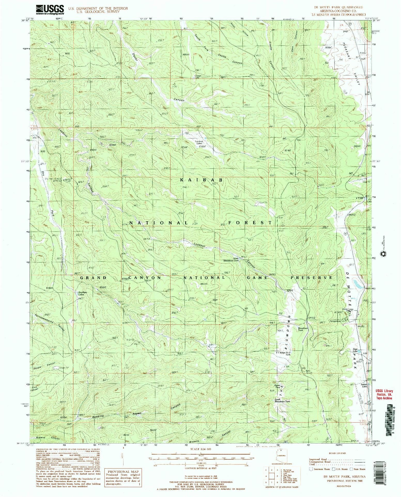 USGS 1:24000-SCALE QUADRANGLE FOR DE MOTTE PARK, AZ 1988