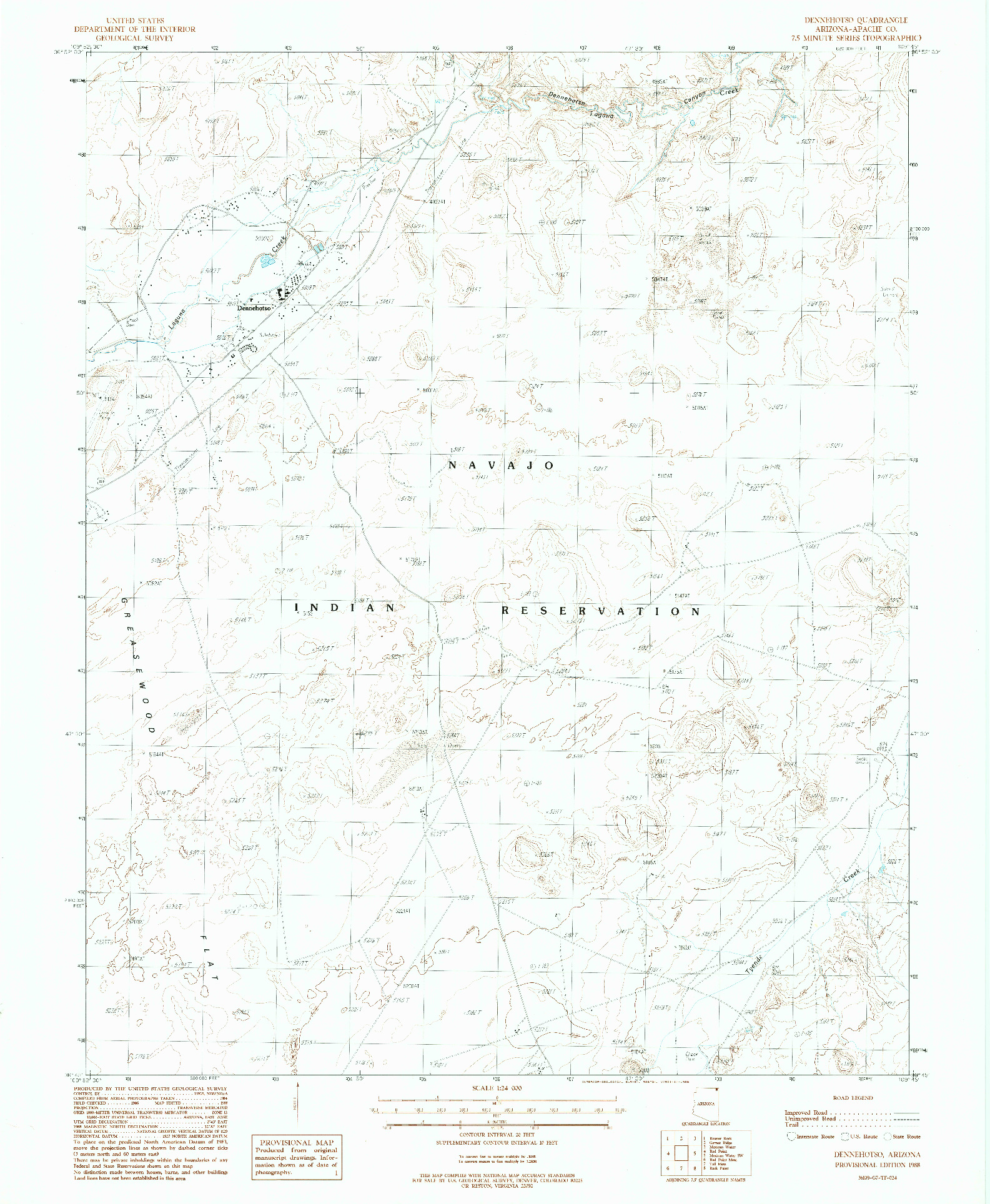 USGS 1:24000-SCALE QUADRANGLE FOR DENNEHOTSO, AZ 1988