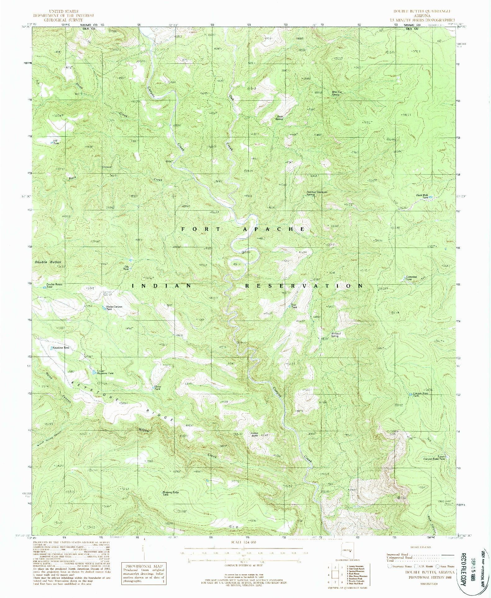 USGS 1:24000-SCALE QUADRANGLE FOR DOUBLE BUTTES, AZ 1988