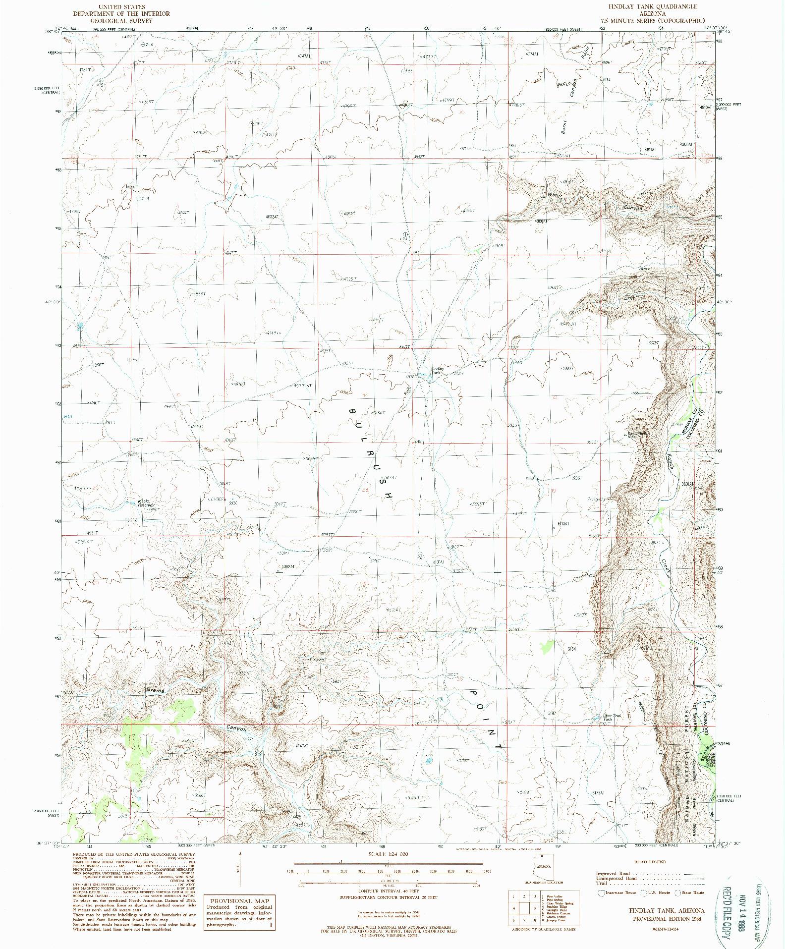 USGS 1:24000-SCALE QUADRANGLE FOR FINDLAY TANK, AZ 1988