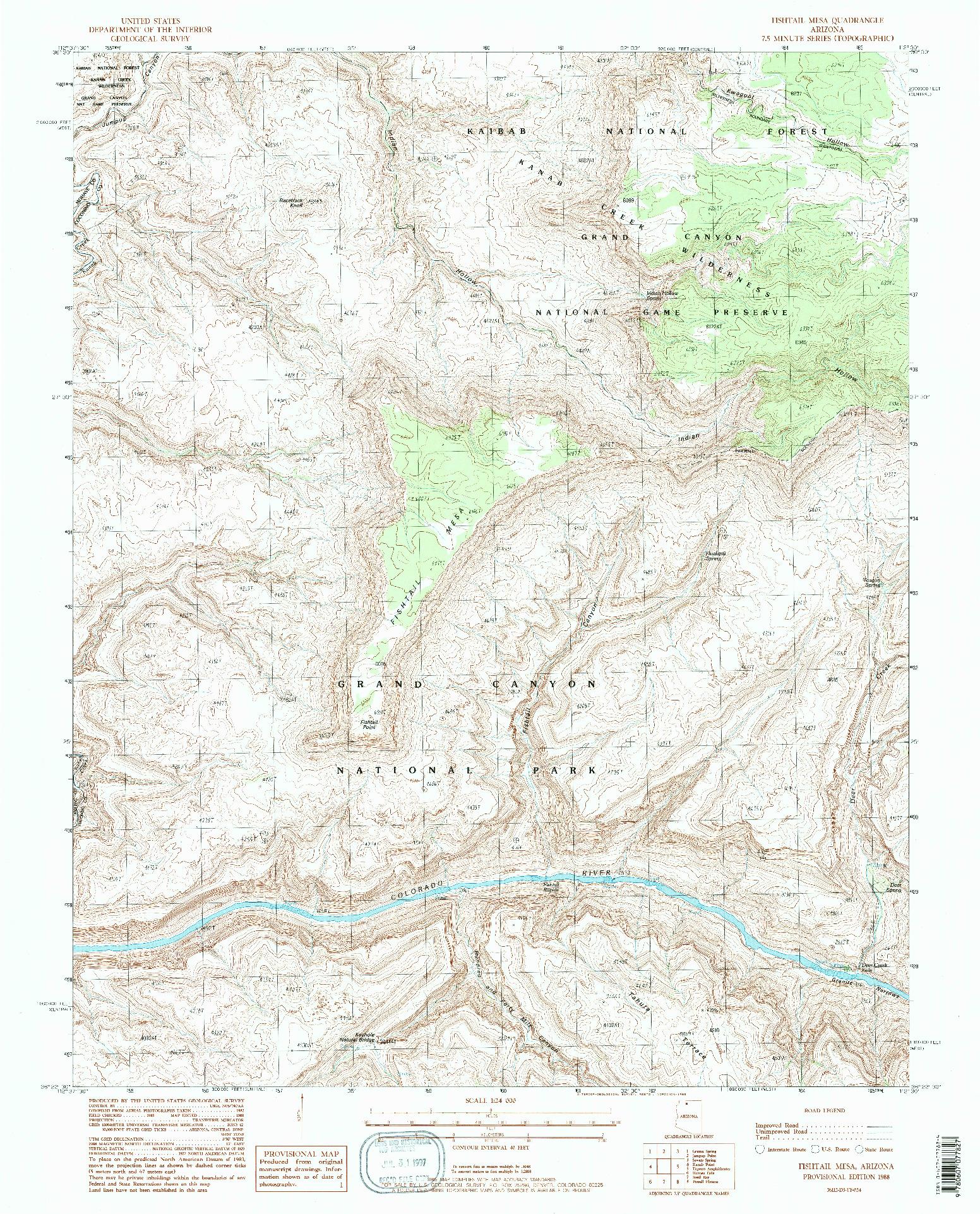 USGS 1:24000-SCALE QUADRANGLE FOR FISHTAIL MESA, AZ 1988