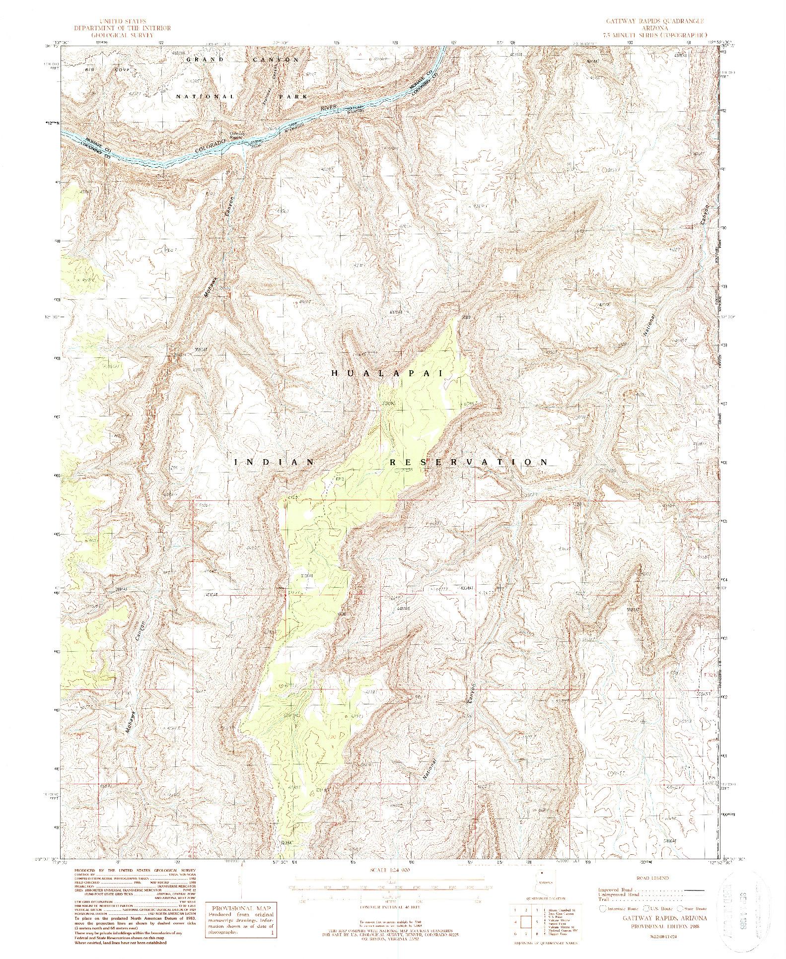 USGS 1:24000-SCALE QUADRANGLE FOR GATEWAY RAPIDS, AZ 1988
