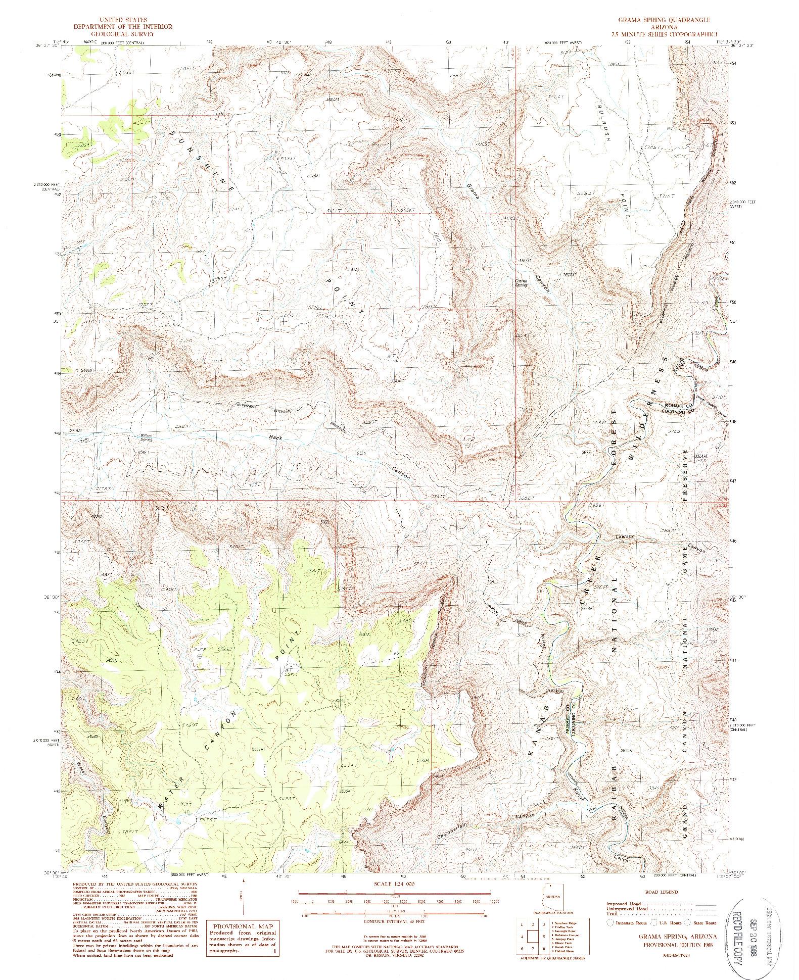 USGS 1:24000-SCALE QUADRANGLE FOR GRAMA SPRING, AZ 1988