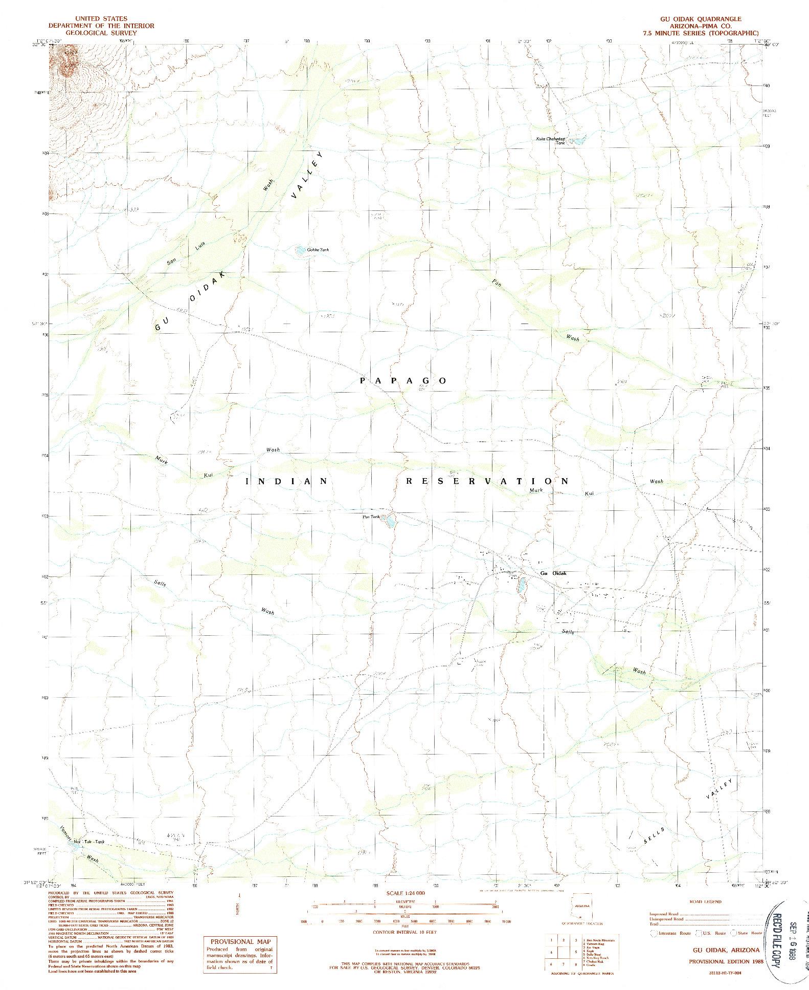 USGS 1:24000-SCALE QUADRANGLE FOR GU OIDAK, AZ 1988