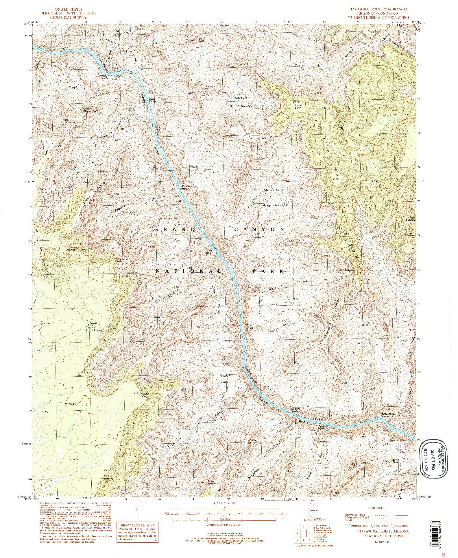 USGS 1:24000-SCALE QUADRANGLE FOR HAVASUPAI POINT, AZ 1988