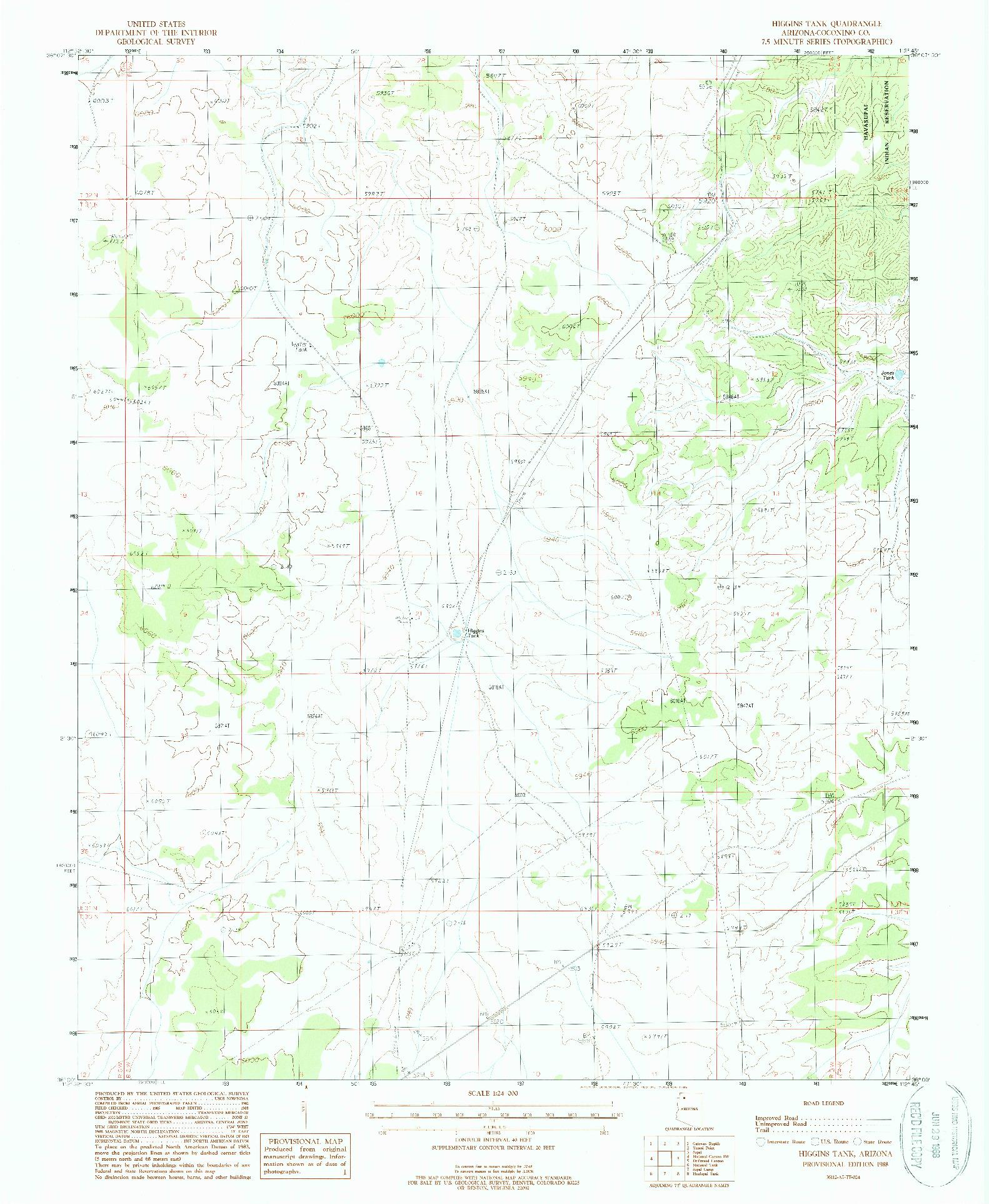 USGS 1:24000-SCALE QUADRANGLE FOR HIGGINS TANK, AZ 1988