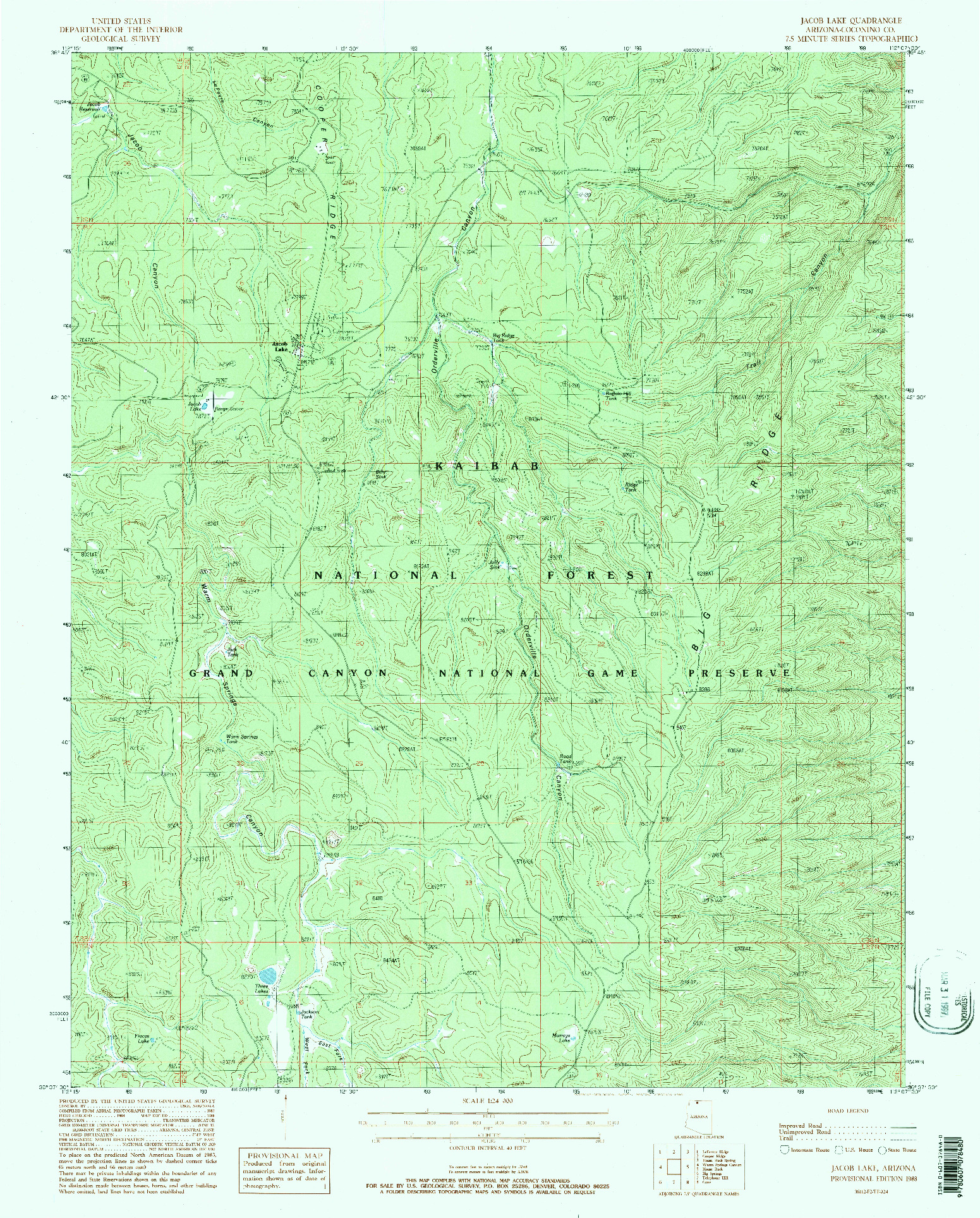 USGS 1:24000-SCALE QUADRANGLE FOR JACOB LAKE, AZ 1988