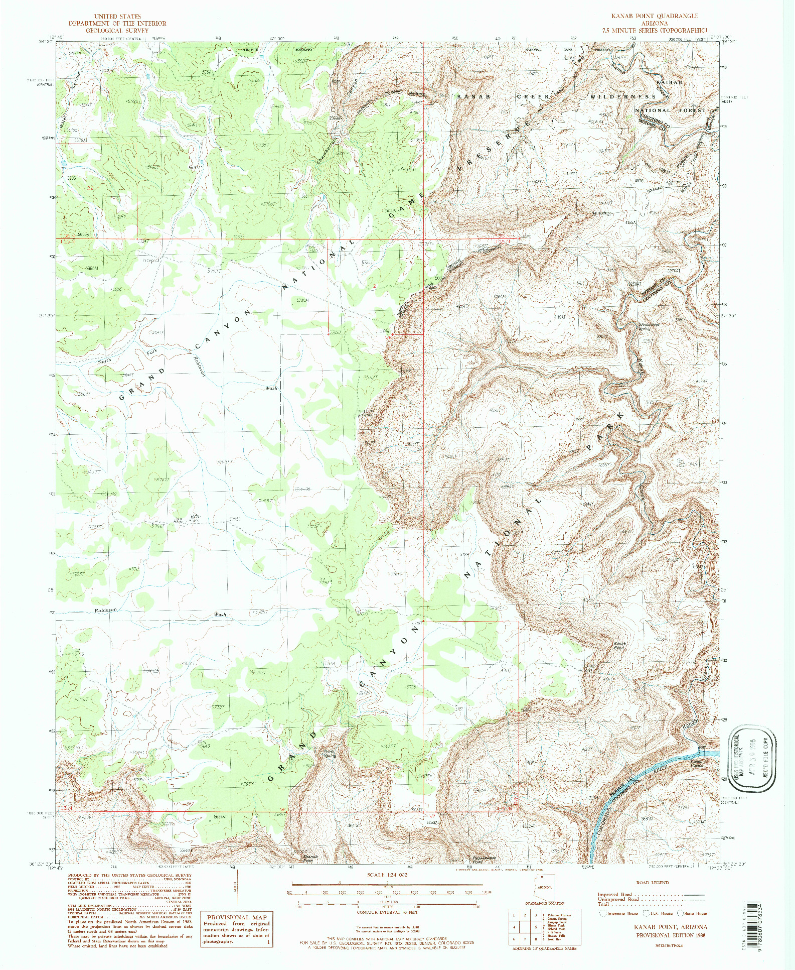 USGS 1:24000-SCALE QUADRANGLE FOR KANAB POINT, AZ 1988