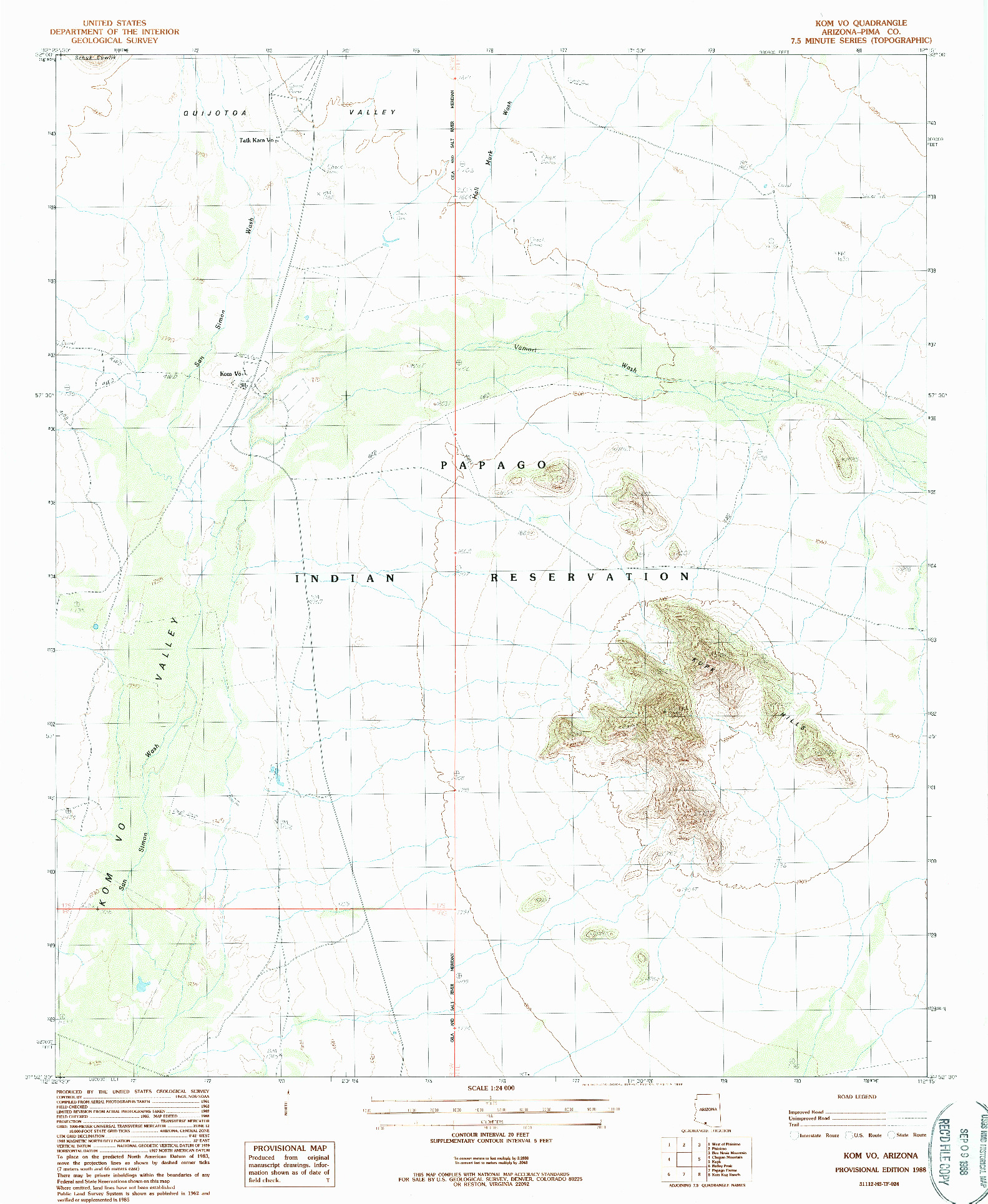 USGS 1:24000-SCALE QUADRANGLE FOR KOM VO, AZ 1988