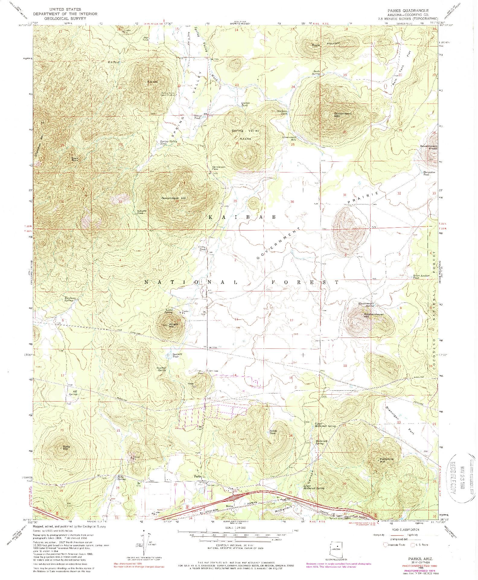 USGS 1:24000-SCALE QUADRANGLE FOR PARKS, AZ 1966
