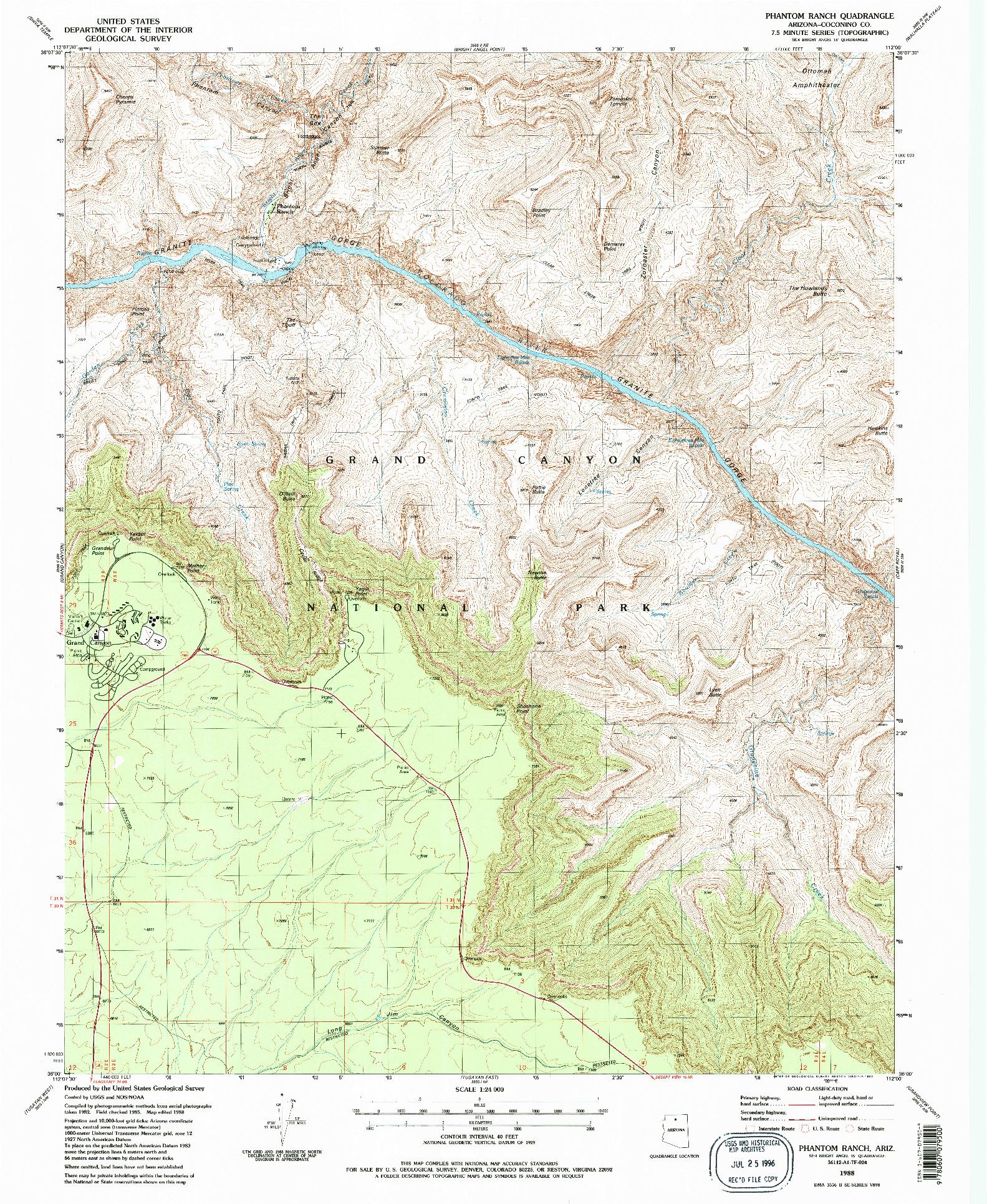 USGS 1:24000-SCALE QUADRANGLE FOR PHANTOM RANCH, AZ 1988