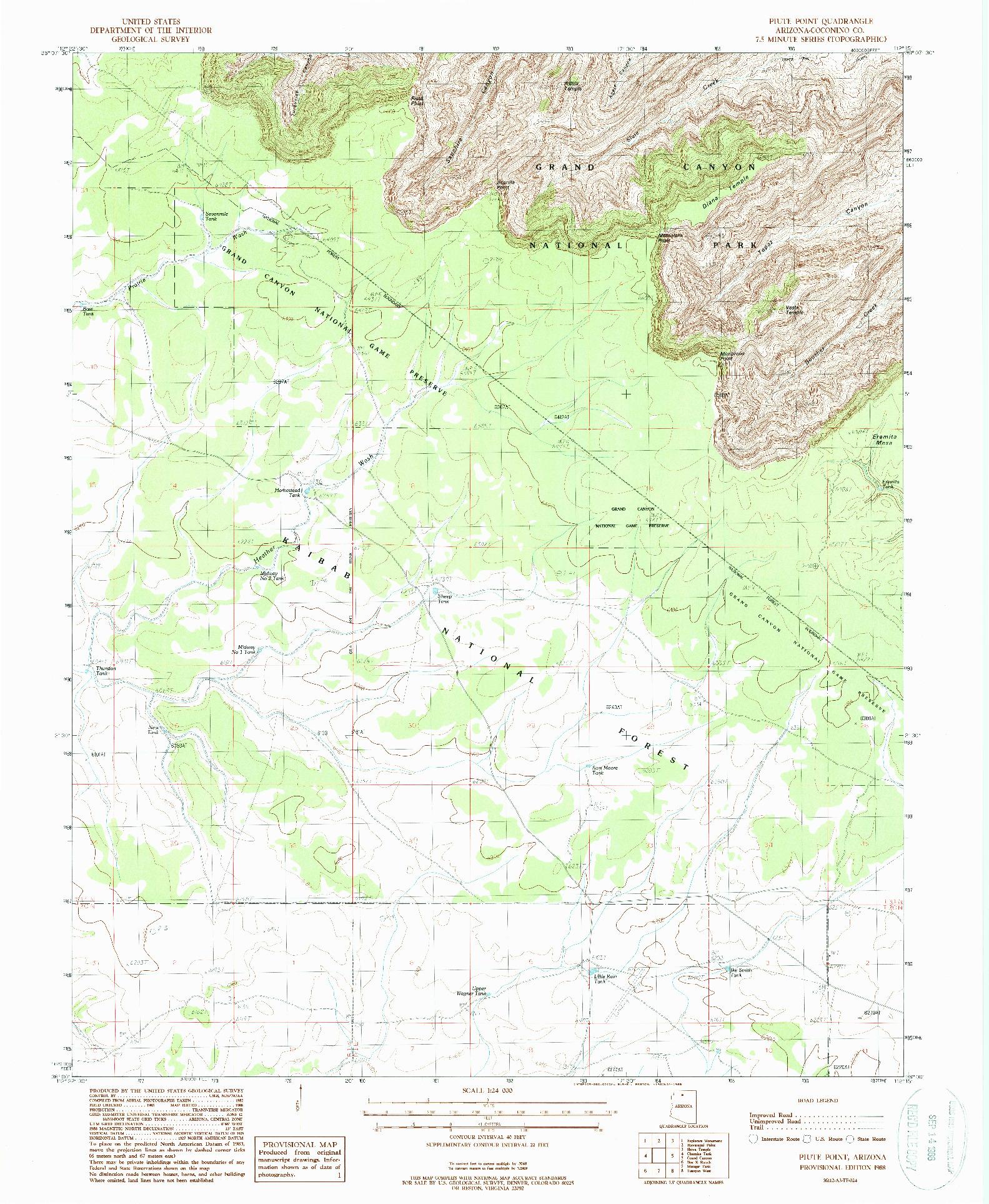 USGS 1:24000-SCALE QUADRANGLE FOR PIUTE POINT, AZ 1988