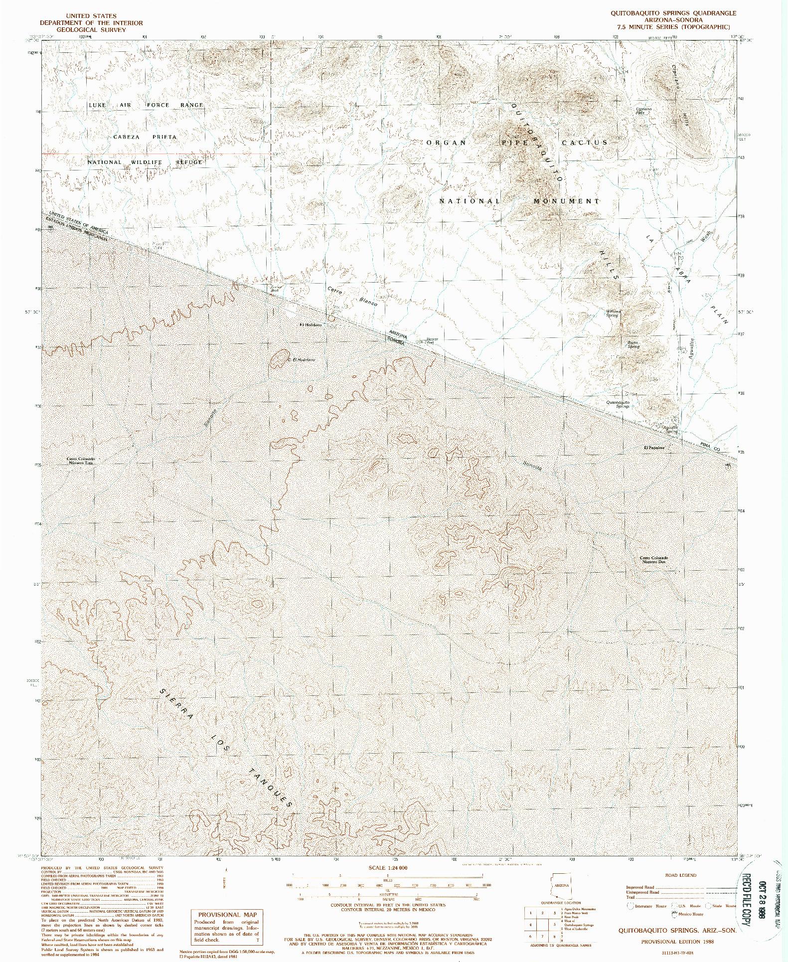 USGS 1:24000-SCALE QUADRANGLE FOR QUITOBAQUITO SPRINGS, AZ 1988