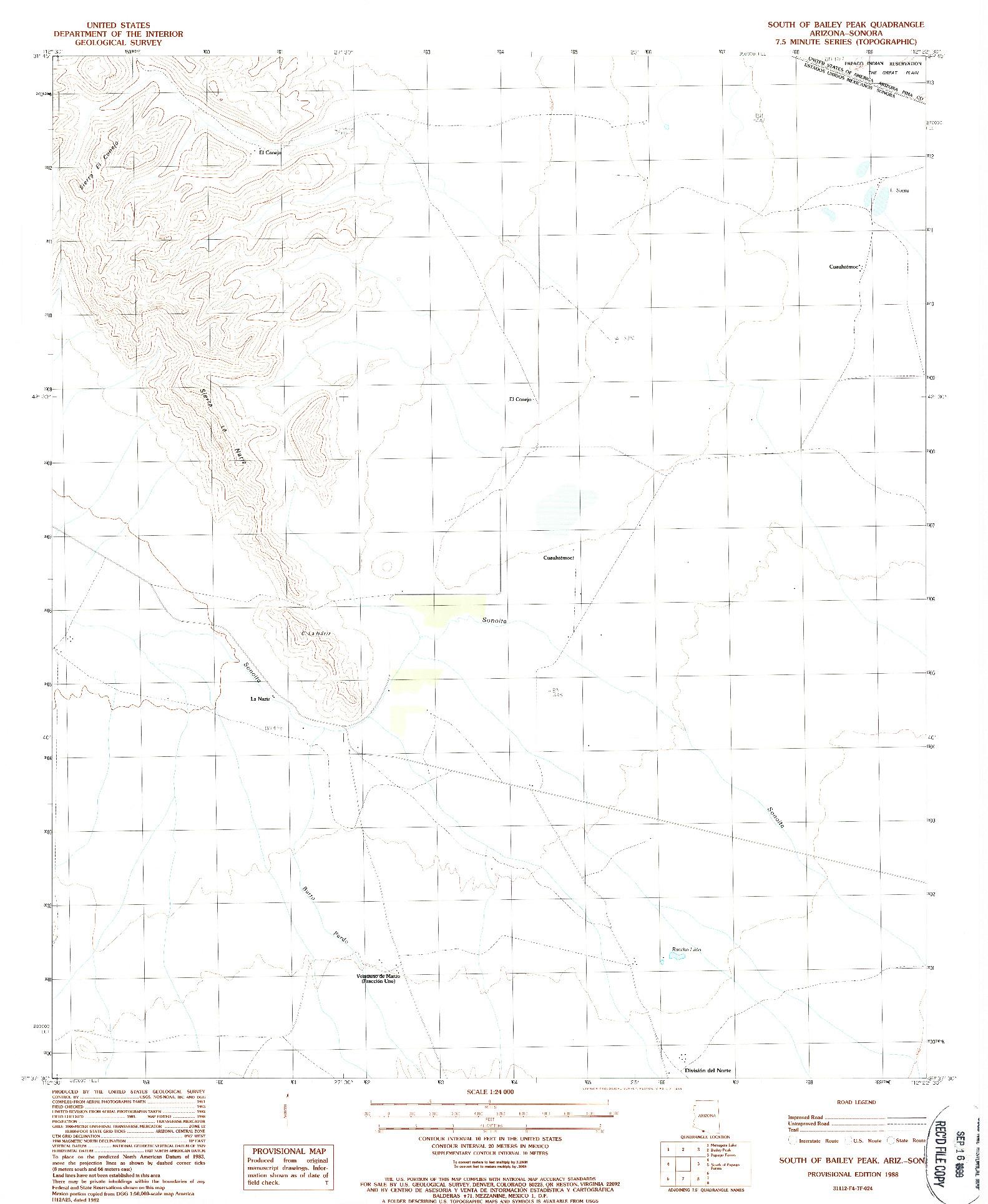 USGS 1:24000-SCALE QUADRANGLE FOR SOUTH OF BAILEY PEAK, AZ 1988
