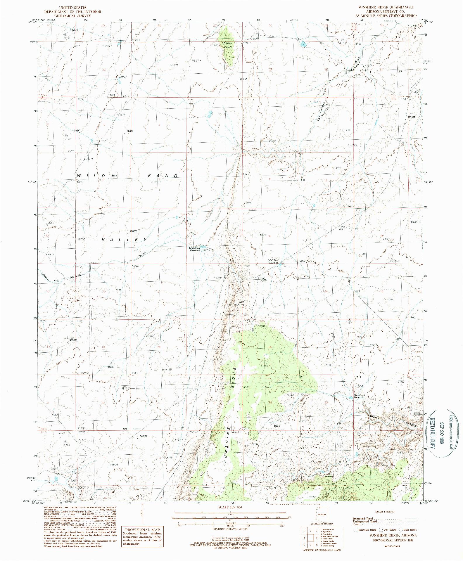 USGS 1:24000-SCALE QUADRANGLE FOR SUNSHINE RIDGE, AZ 1988