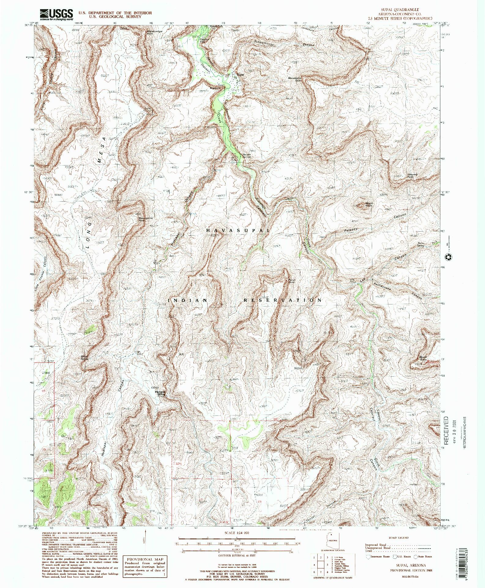 USGS 1:24000-SCALE QUADRANGLE FOR SUPAI, AZ 1988