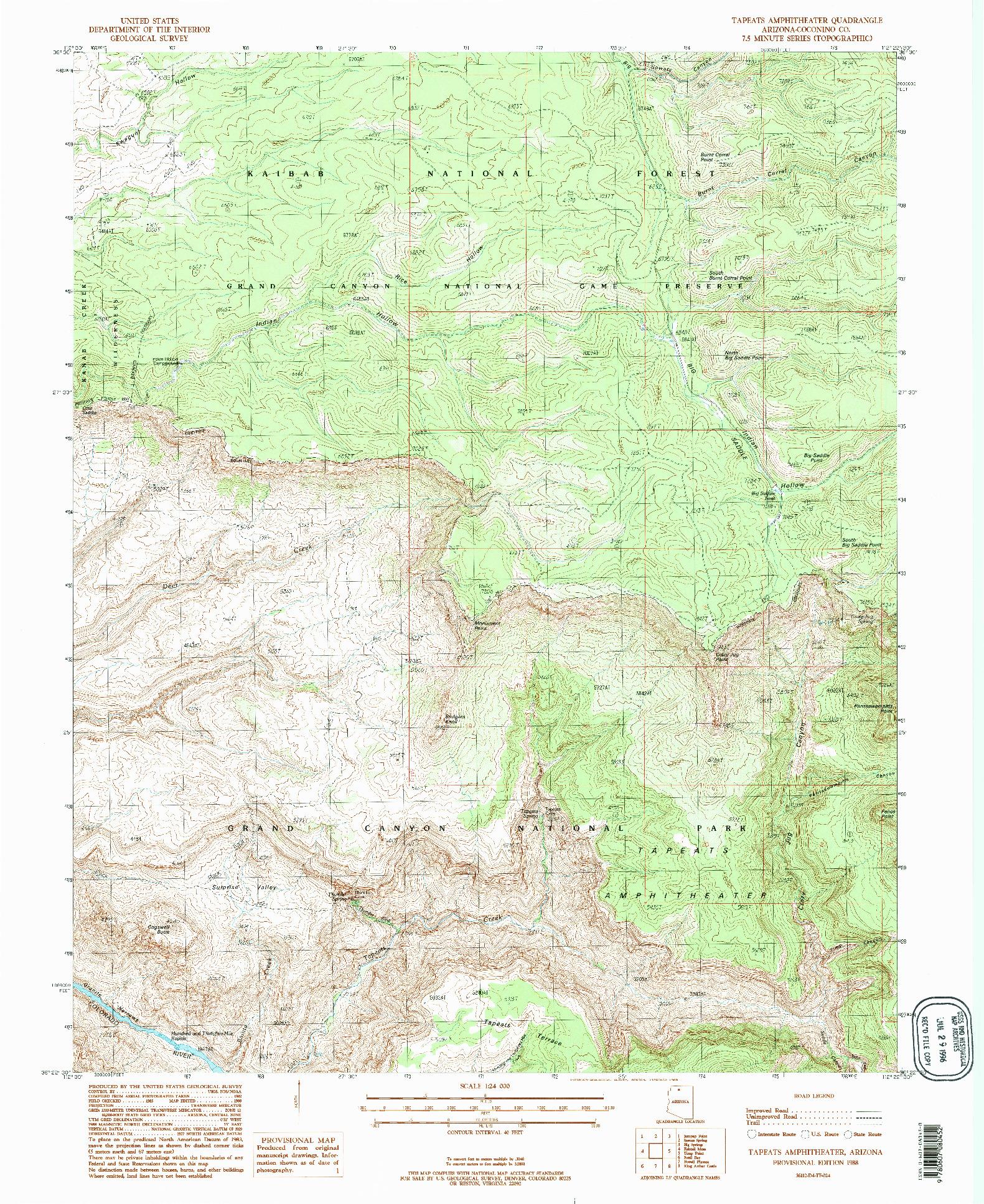 USGS 1:24000-SCALE QUADRANGLE FOR TAPEATS AMPHITHEATER, AZ 1988