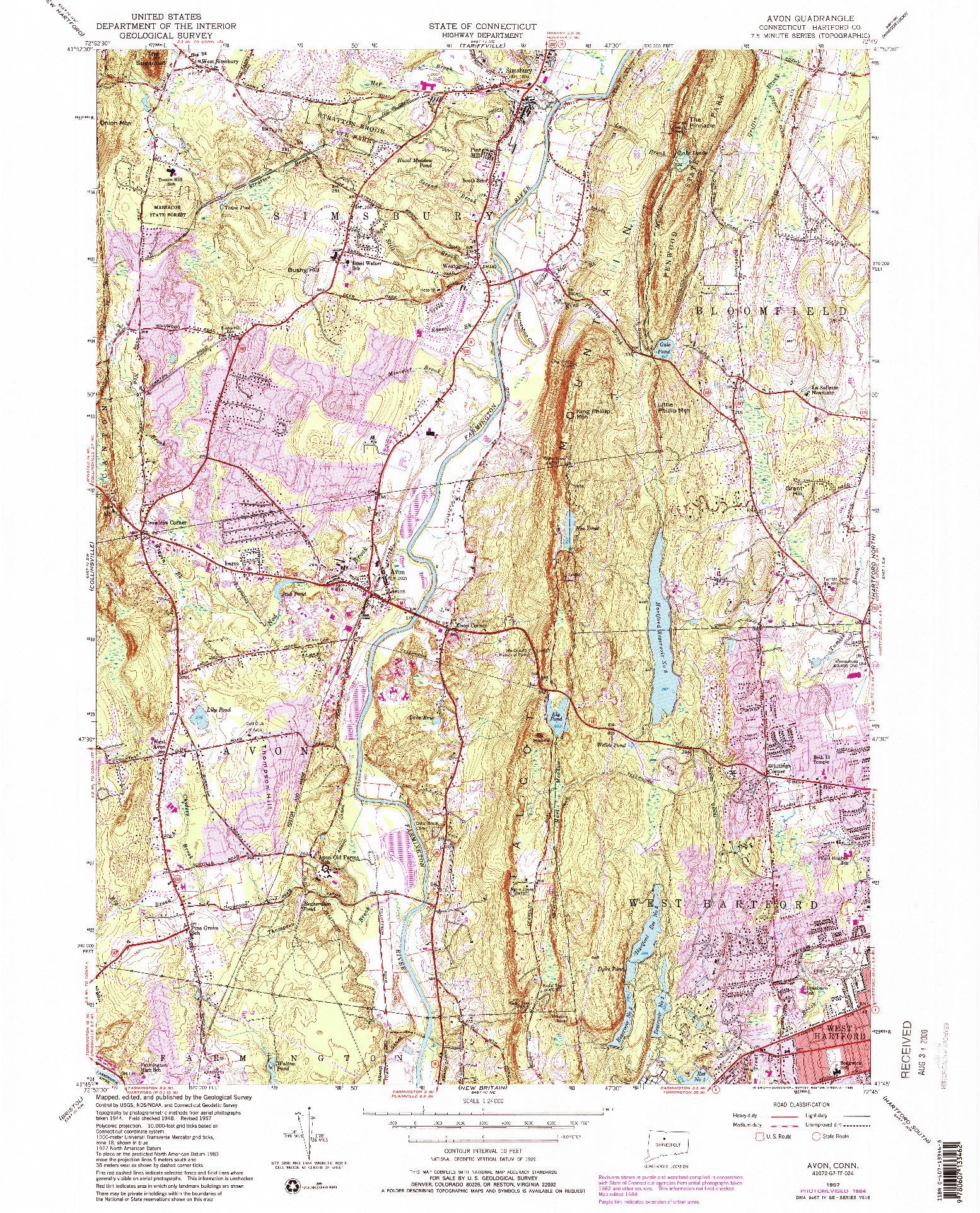USGS 1:24000-SCALE QUADRANGLE FOR AVON, CT 1957