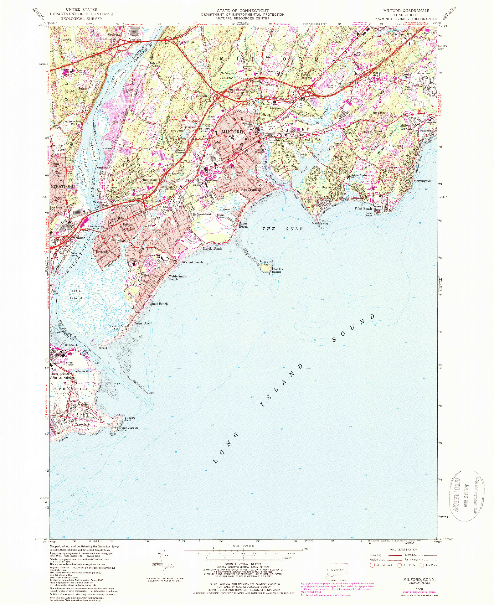 USGS 1:24000-SCALE QUADRANGLE FOR MILFORD, CT 1960