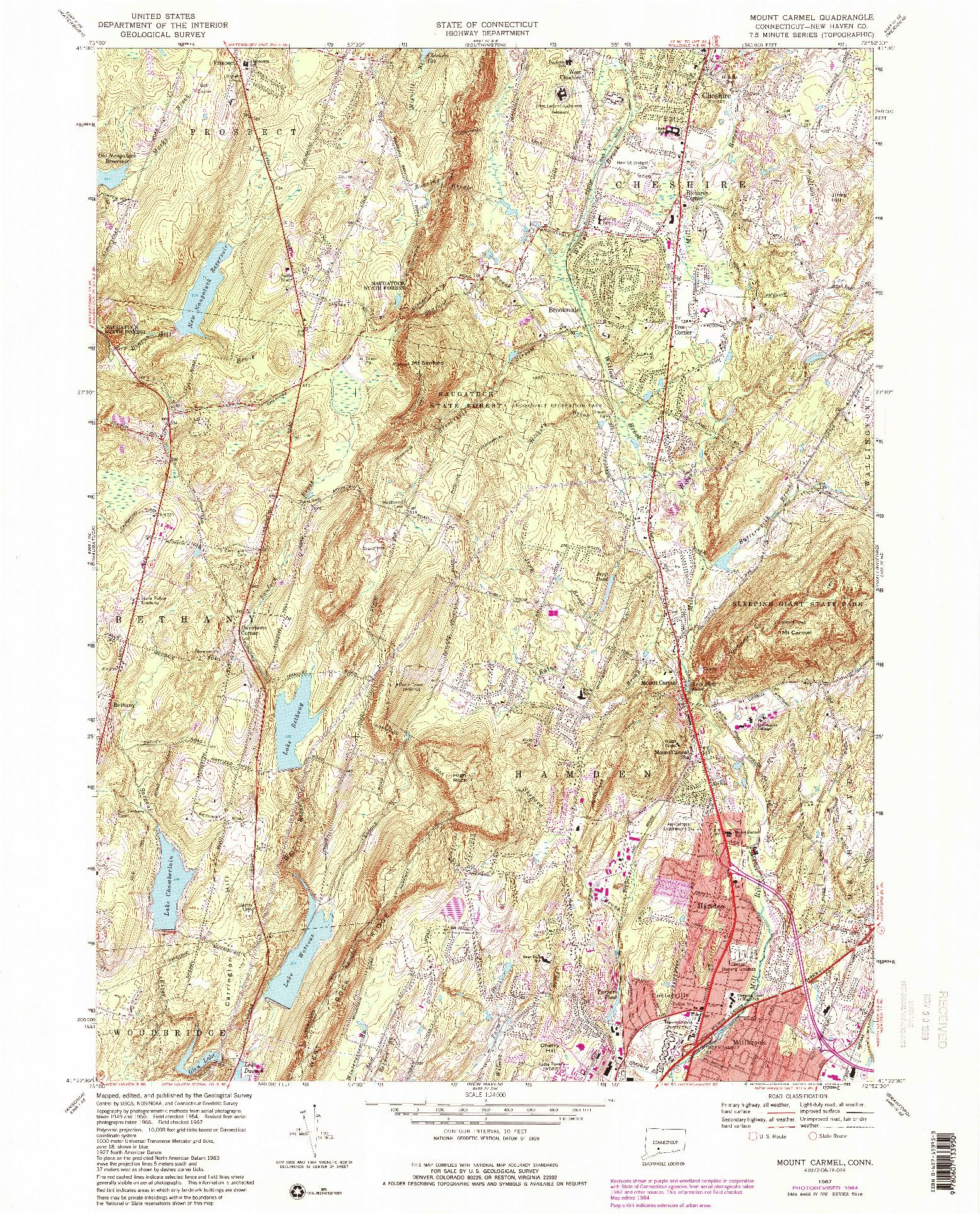 USGS 1:24000-SCALE QUADRANGLE FOR MOUNT CARMEL, CT 1967