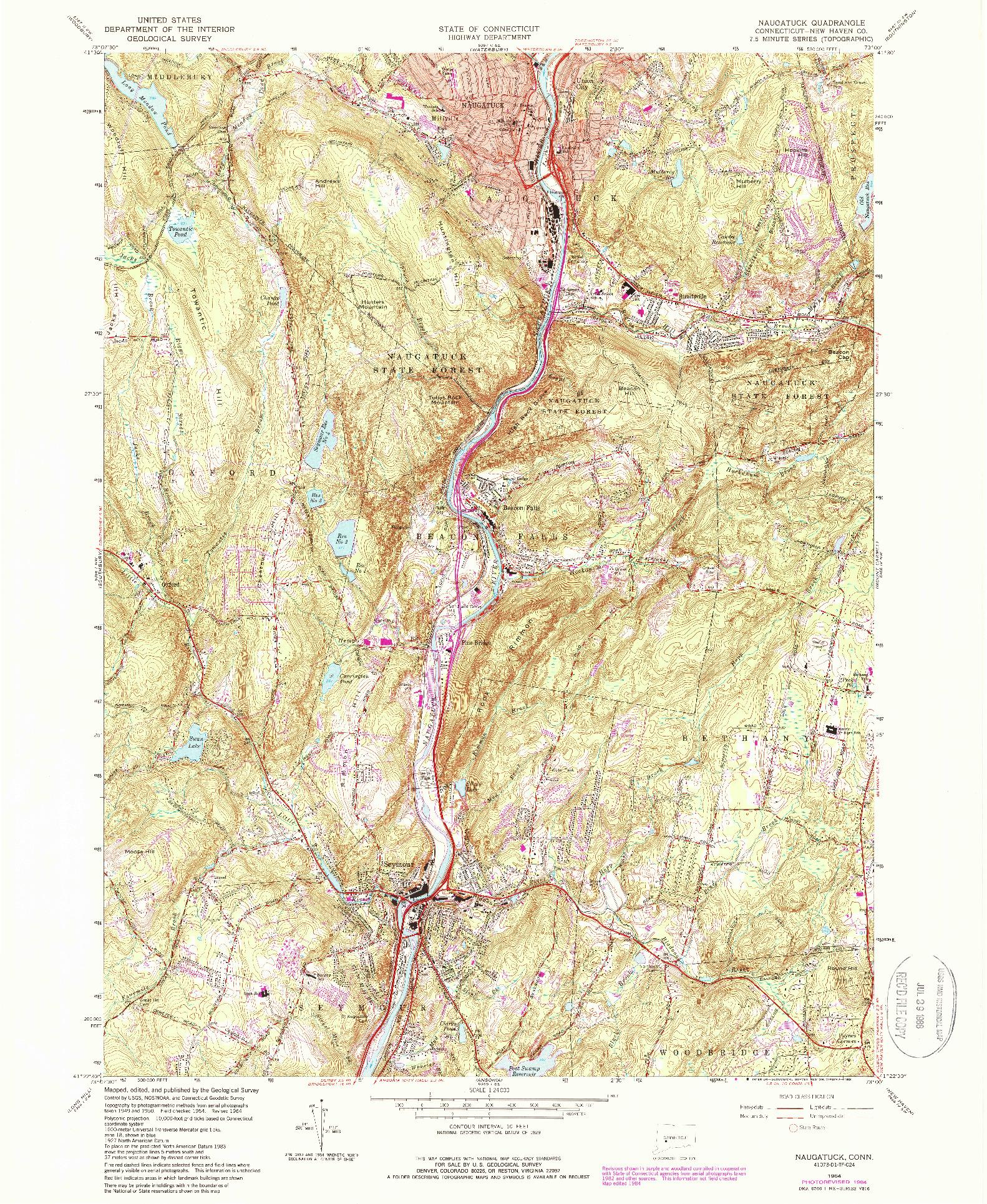 USGS 1:24000-SCALE QUADRANGLE FOR NAUGATUCK, CT 1964