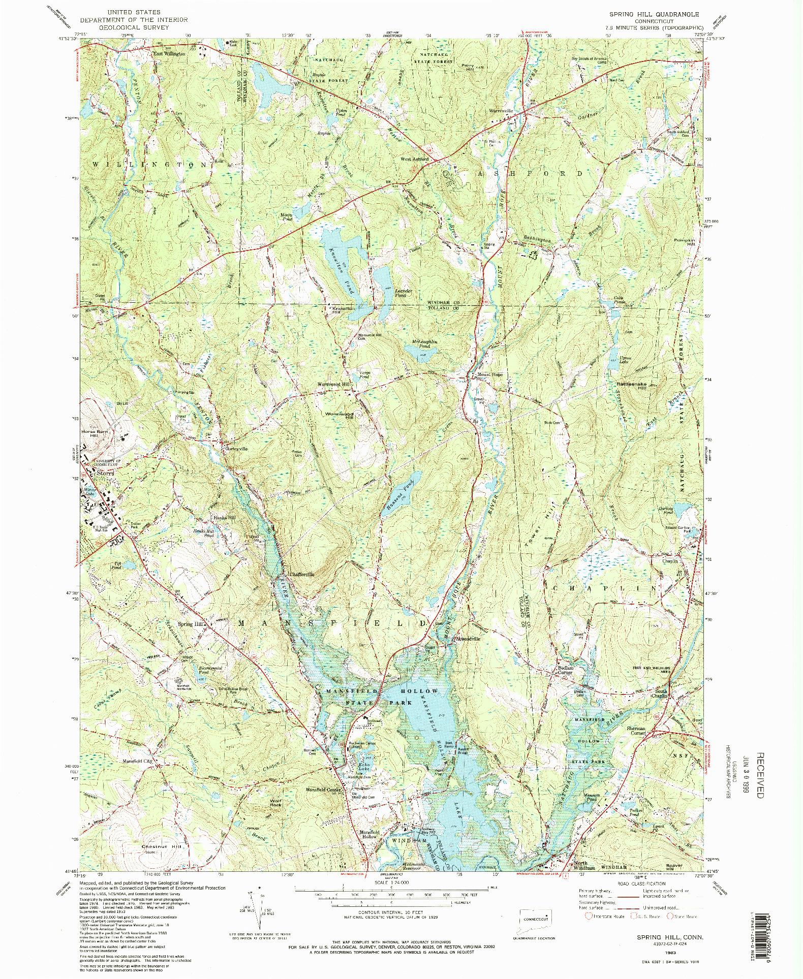 USGS 1:24000-SCALE QUADRANGLE FOR SPRING HILL, CT 1983