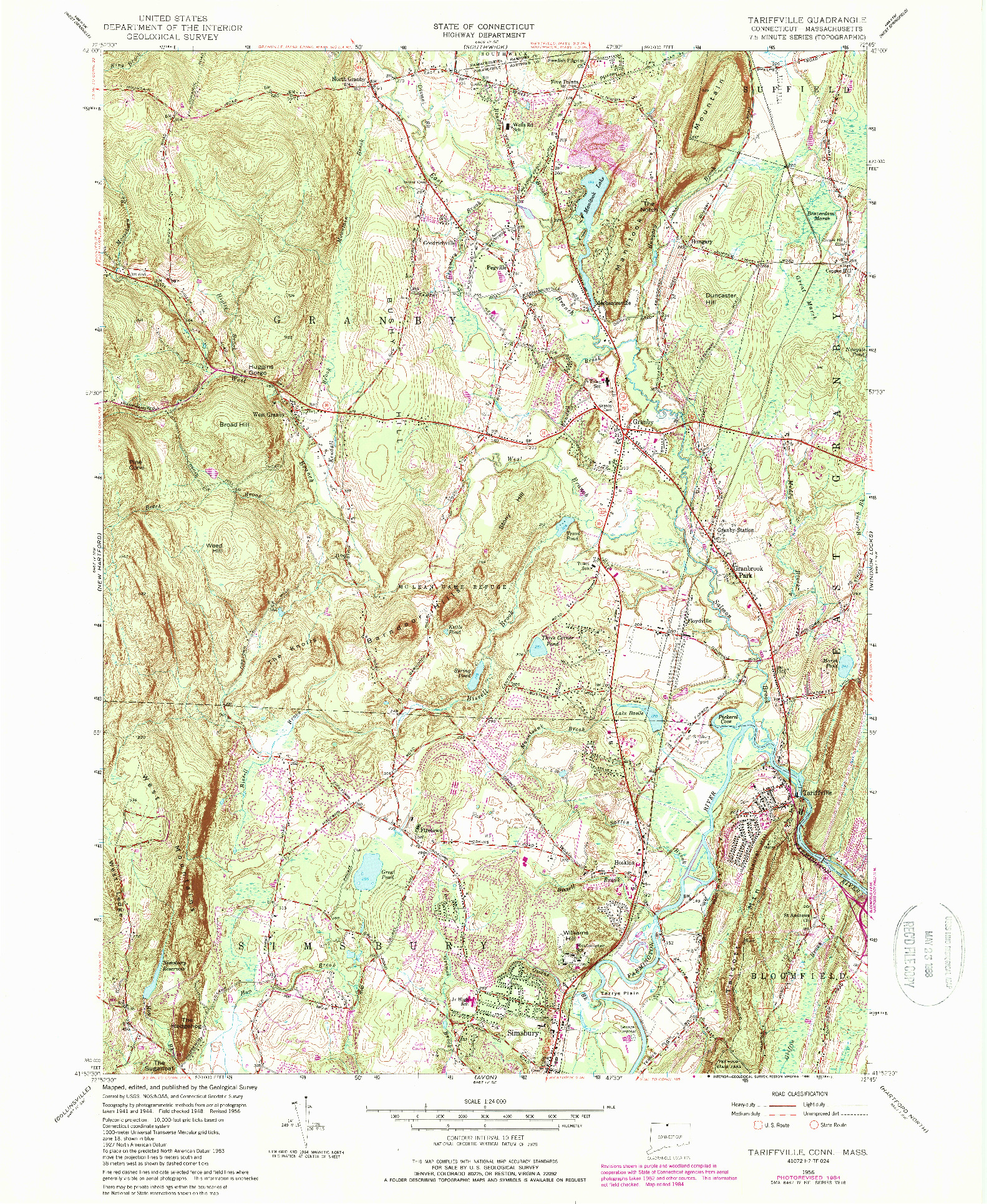 USGS 1:24000-SCALE QUADRANGLE FOR TARIFFVILLE, CT 1956