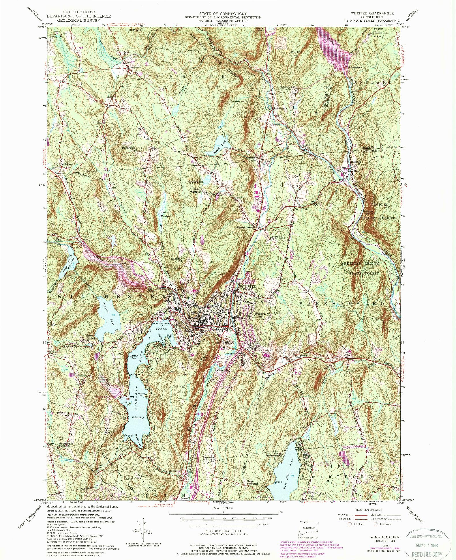 USGS 1:24000-SCALE QUADRANGLE FOR WINSTED, CT 1956