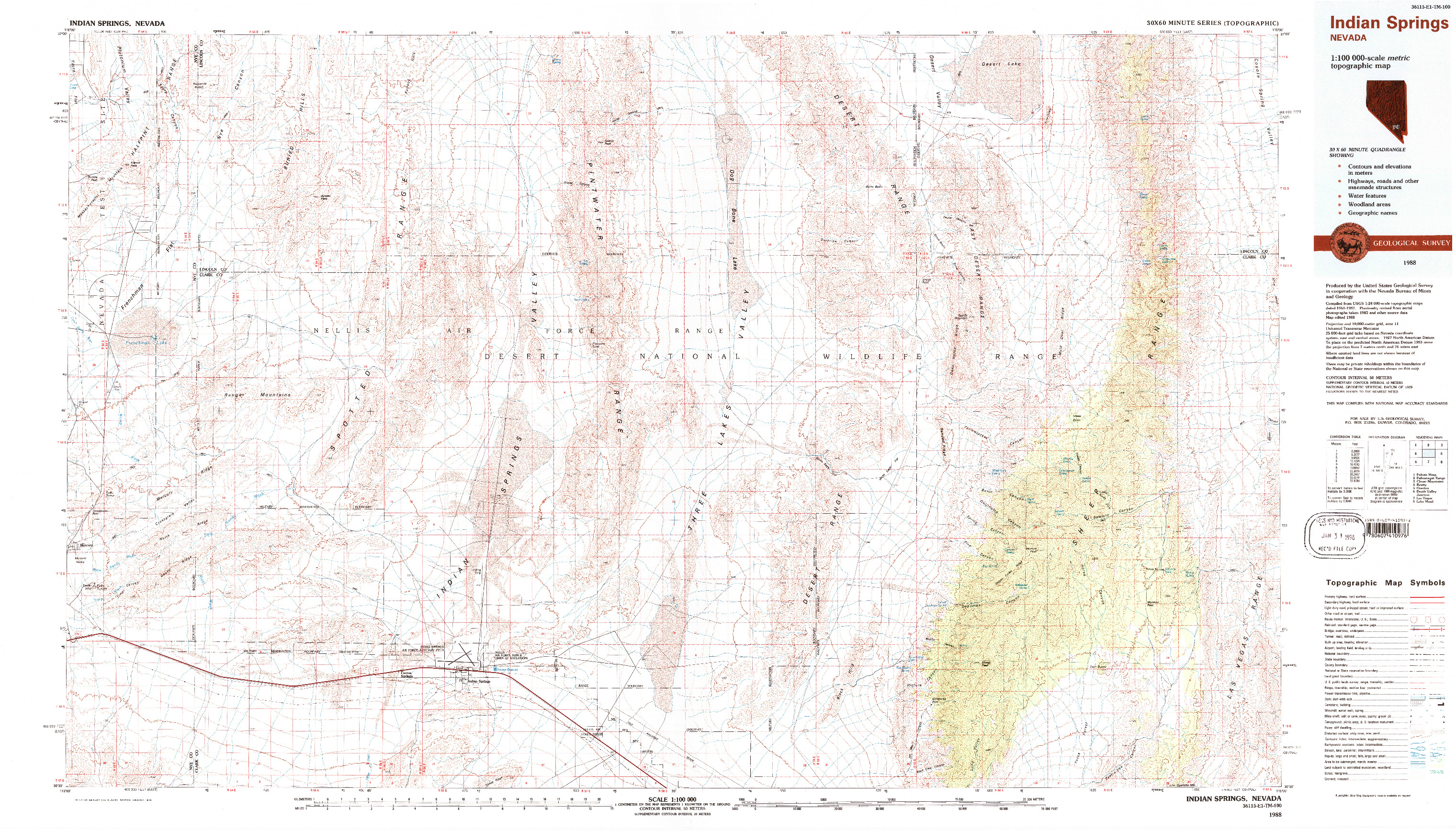 USGS 1:100000-SCALE QUADRANGLE FOR INDIAN SPRINGS, NV 1988