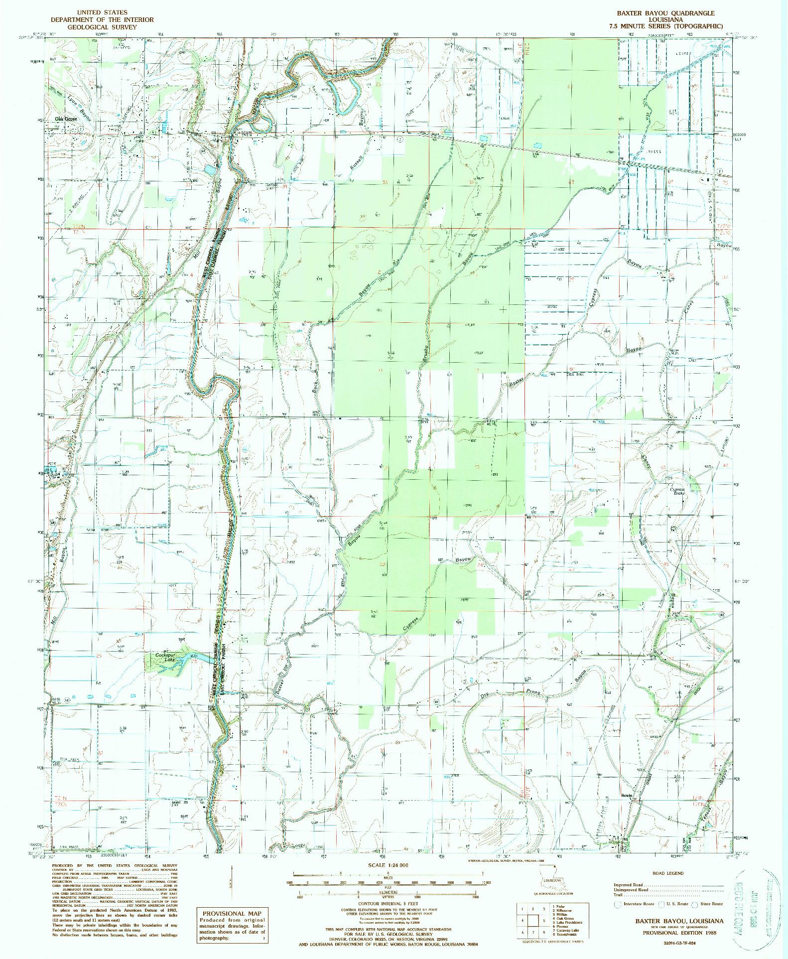 USGS 1:24000-SCALE QUADRANGLE FOR BAXTER BAYOU, LA 1988