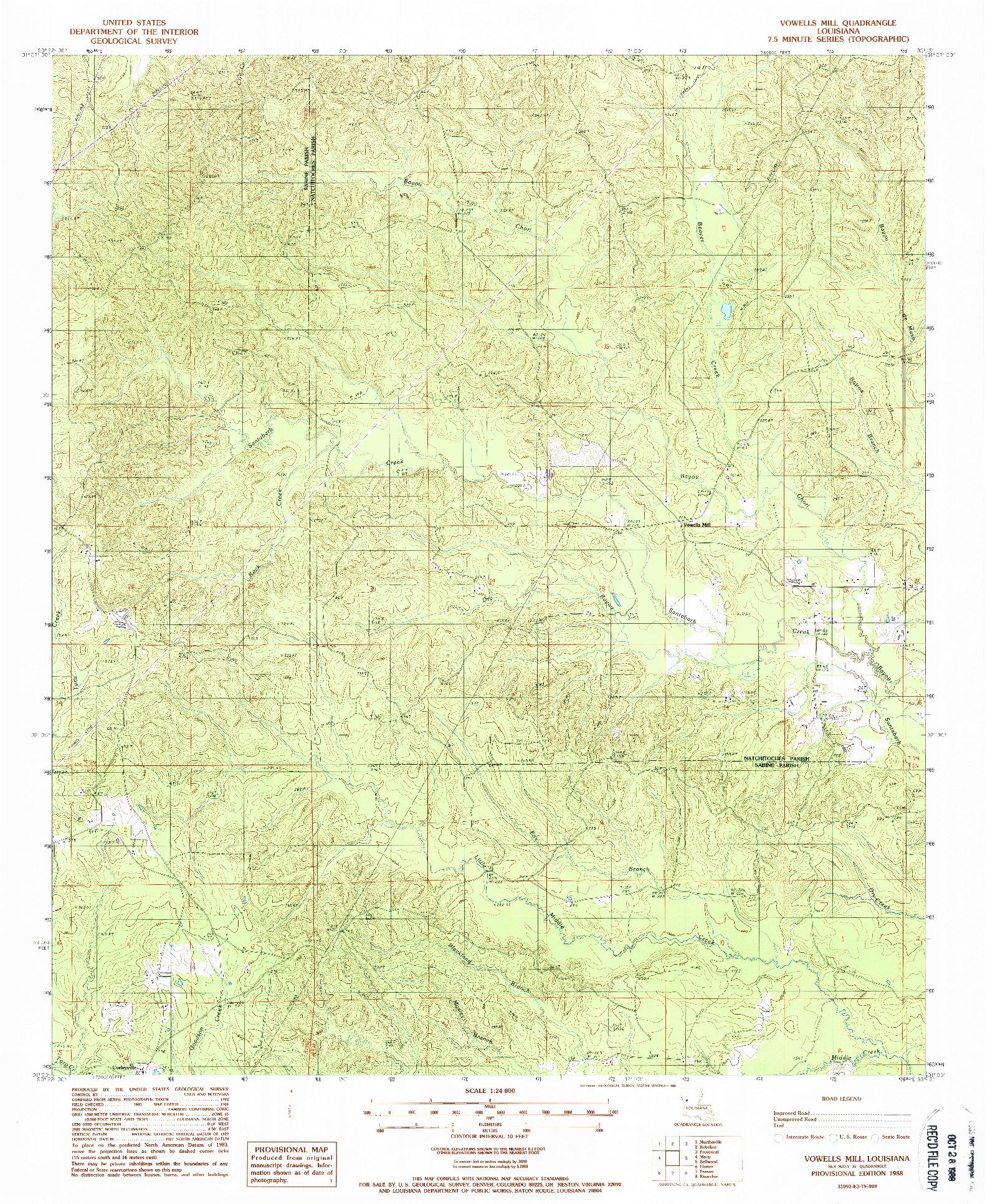 USGS 1:24000-SCALE QUADRANGLE FOR VOWELLS MILL, LA 1988