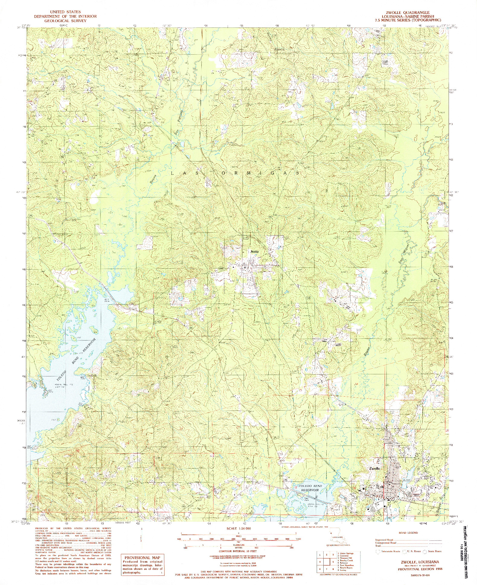 USGS 1:24000-SCALE QUADRANGLE FOR ZWOLLE, LA 1988